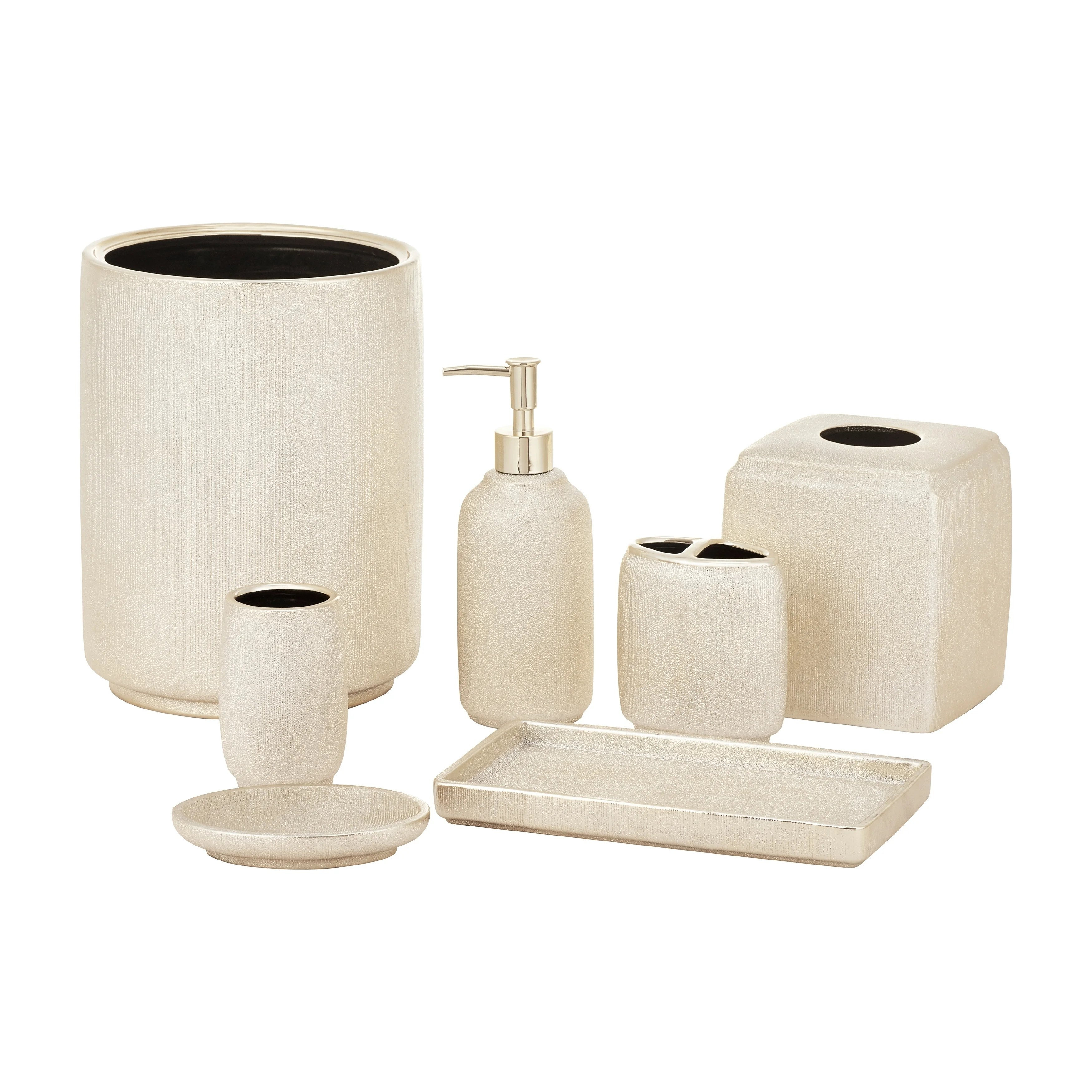 Bathroom Accessories Five Queens Court Valerie Metallic Gold Stoneware Bathroom Accessories