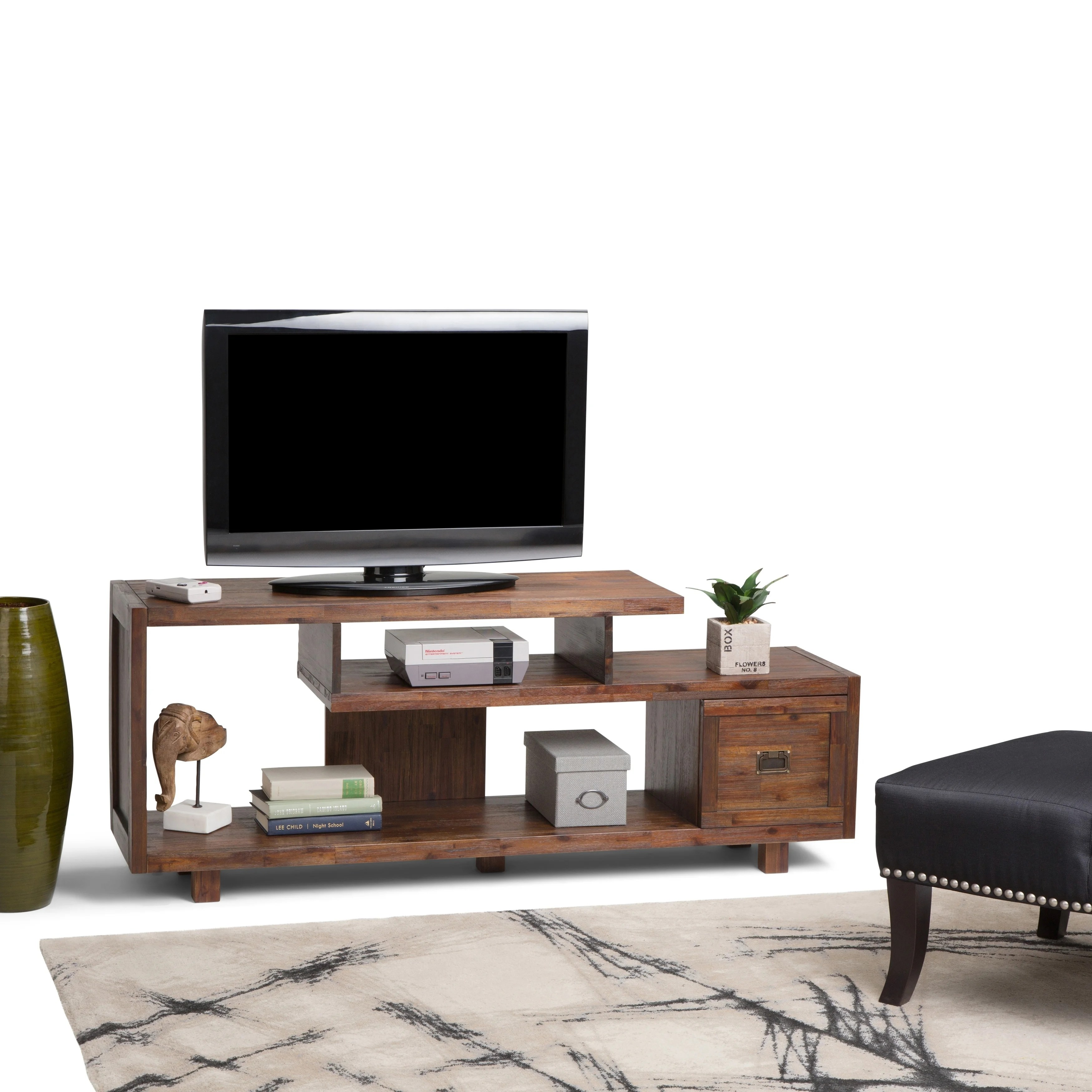 Tv Shop Perth Wyndenhall Garret Solid Acacia Wood 60 Inch Wide Rustic Tv Media Stand In Distressed Charcoal Brown For Tvs Up To 65 Inches