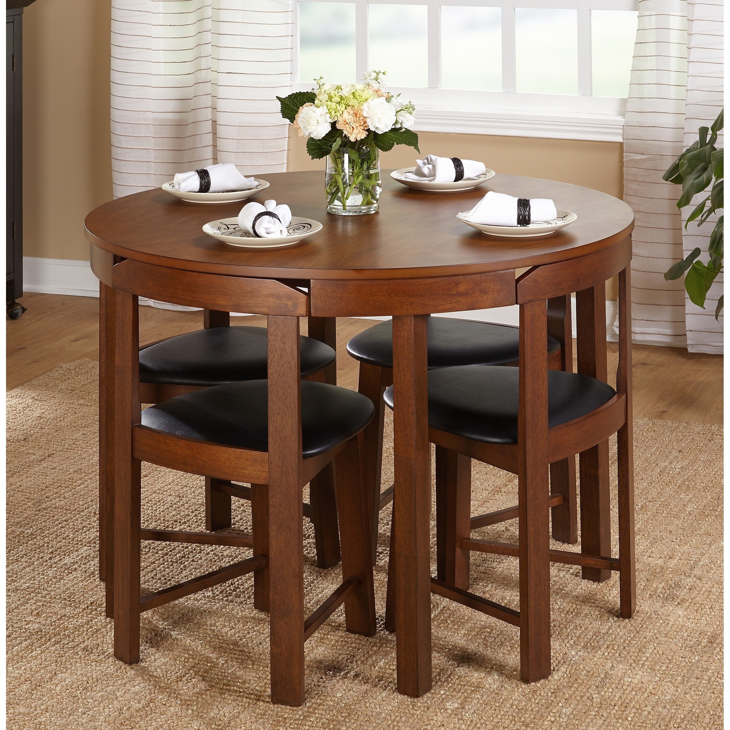Apartment Size Dinette Sets Harrisburg 5 Piece Tobey Compact Round Dining Set