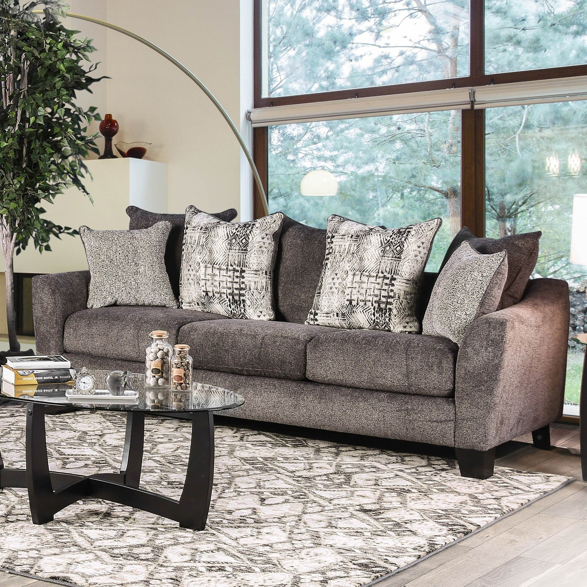 Living Room With Grey Sofa Welles Contemporary Grey Sofa By Foa