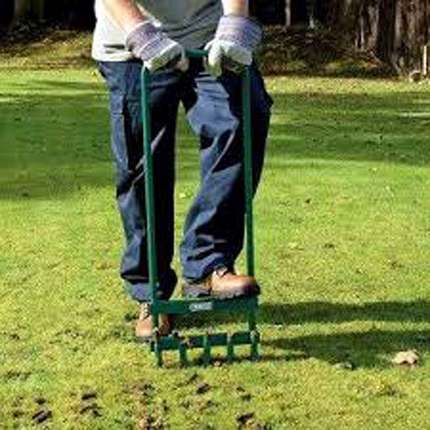 Grass Aerator Aleko Steel Hollow Tine Garden Green Lawn Aerator With 5 Tines