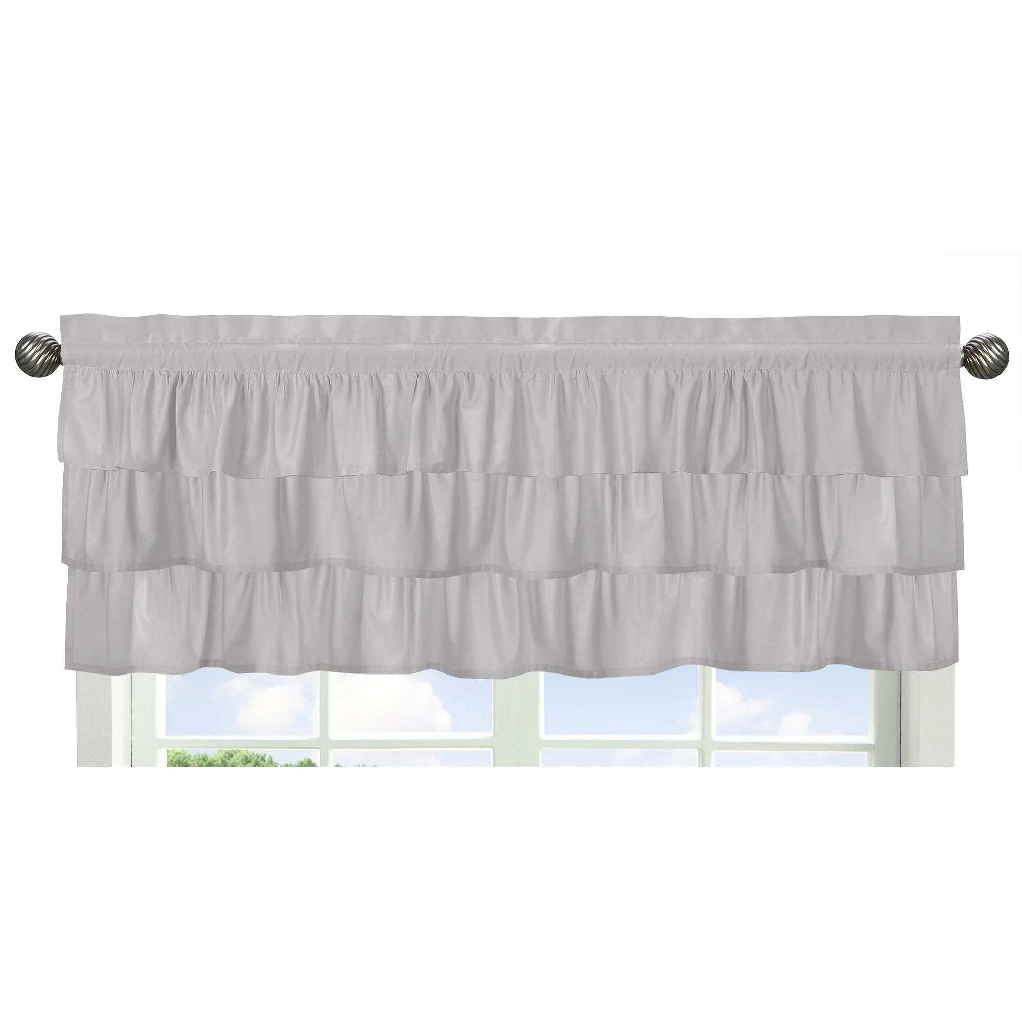 Bad Shabby Chic Sweet Jojo Designs Solid Color Grey Shabby Chic Ruffle Harper Collection Window Curtain Valance