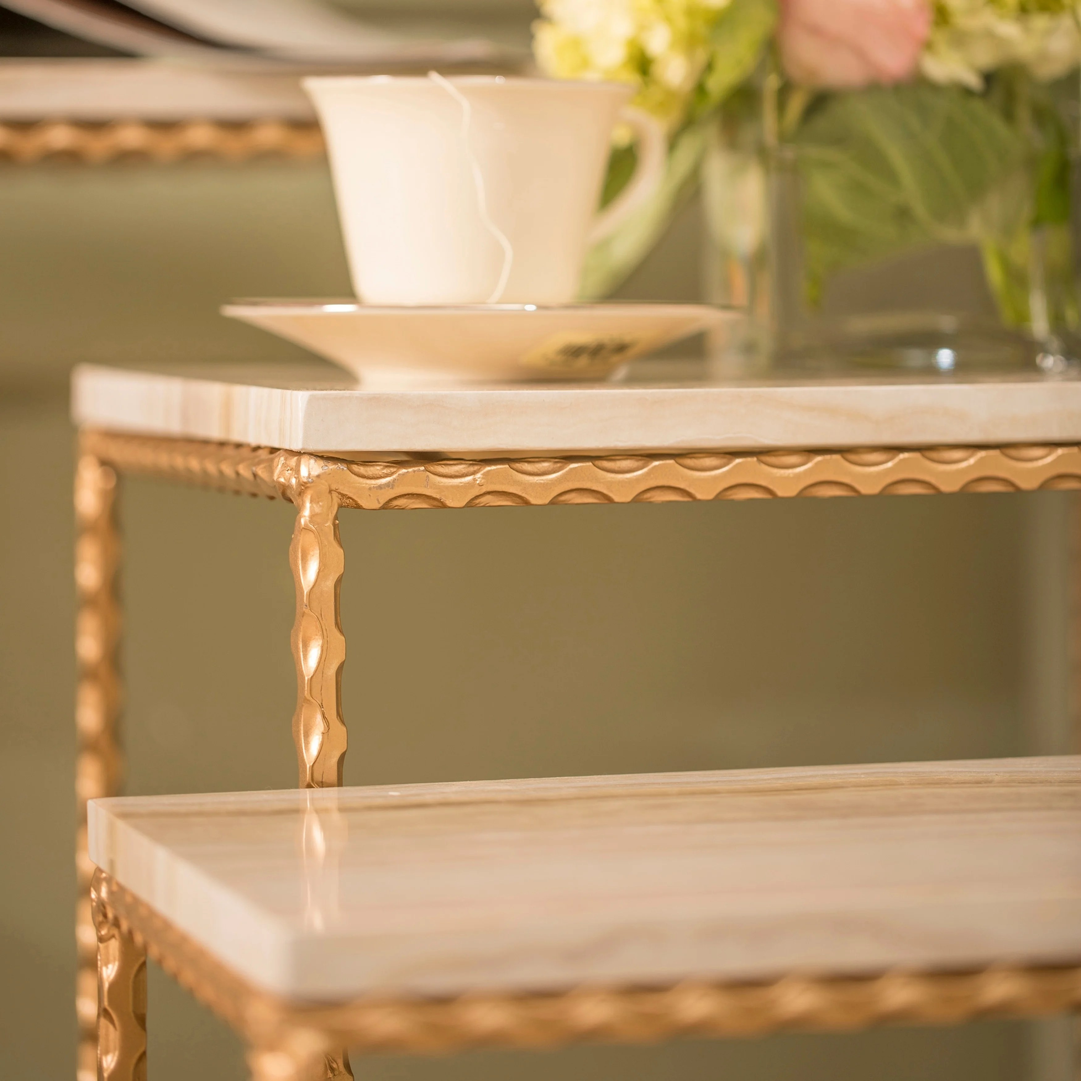 Petite Console Design Faux Marble Nested Petite Console Set Gold Powder Coated Frame Base