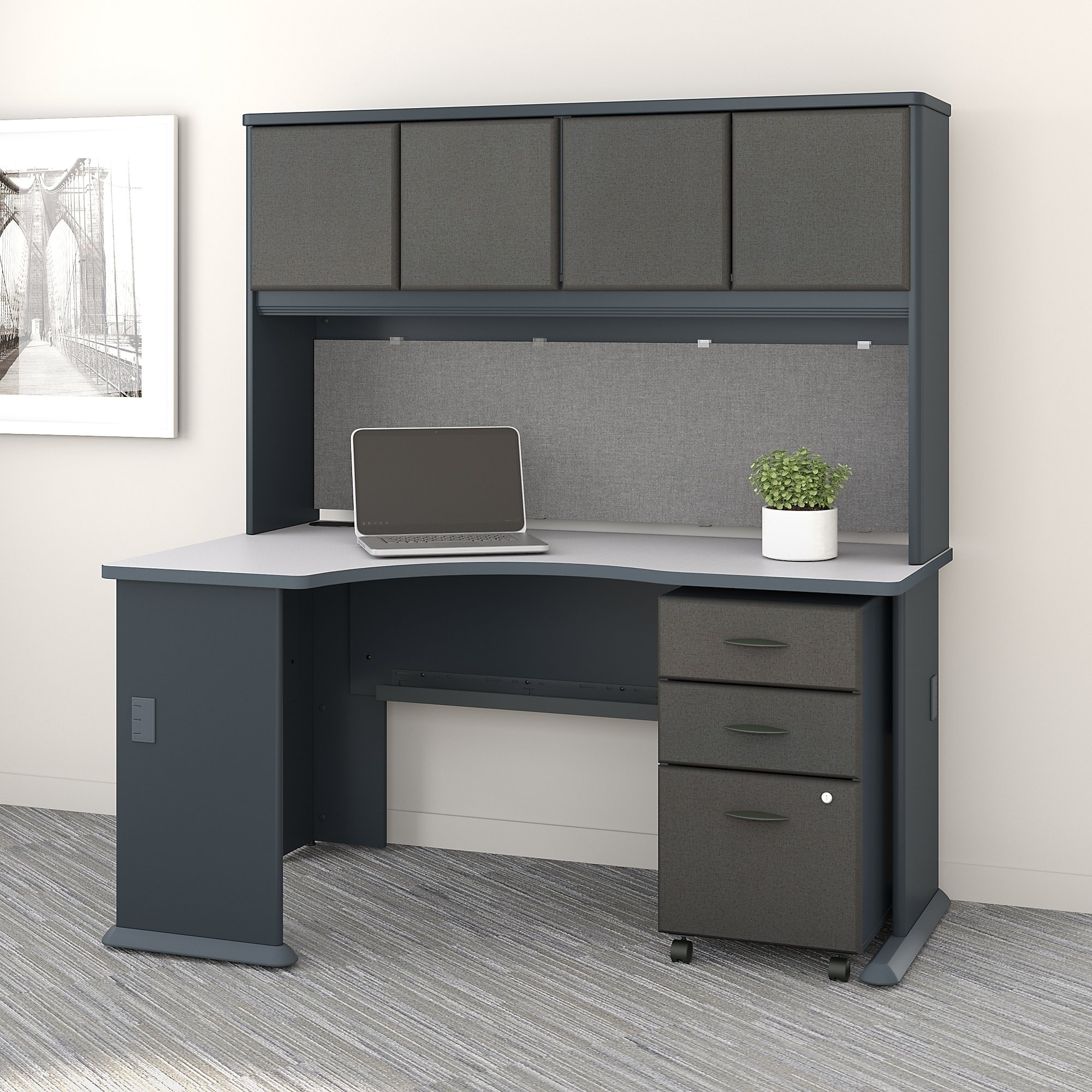 Desk With File Cabinet Series A Left Corner Desk With Hutch And Mobile File Cabinet In Slate