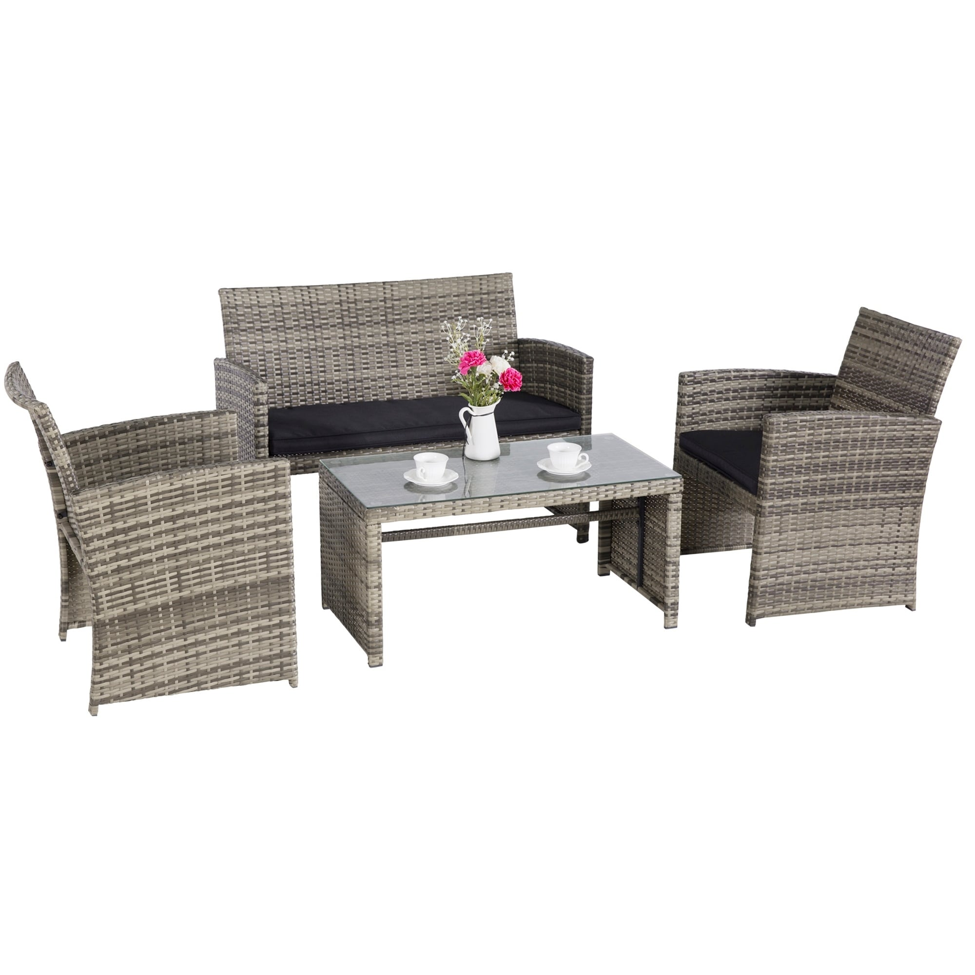Garden Sofa Two Seater 4 Pc Rattan Furniture Set Patio Conversation Set Sectional Wicker Furniture Outdoor Garden Sofa Cushioned Set