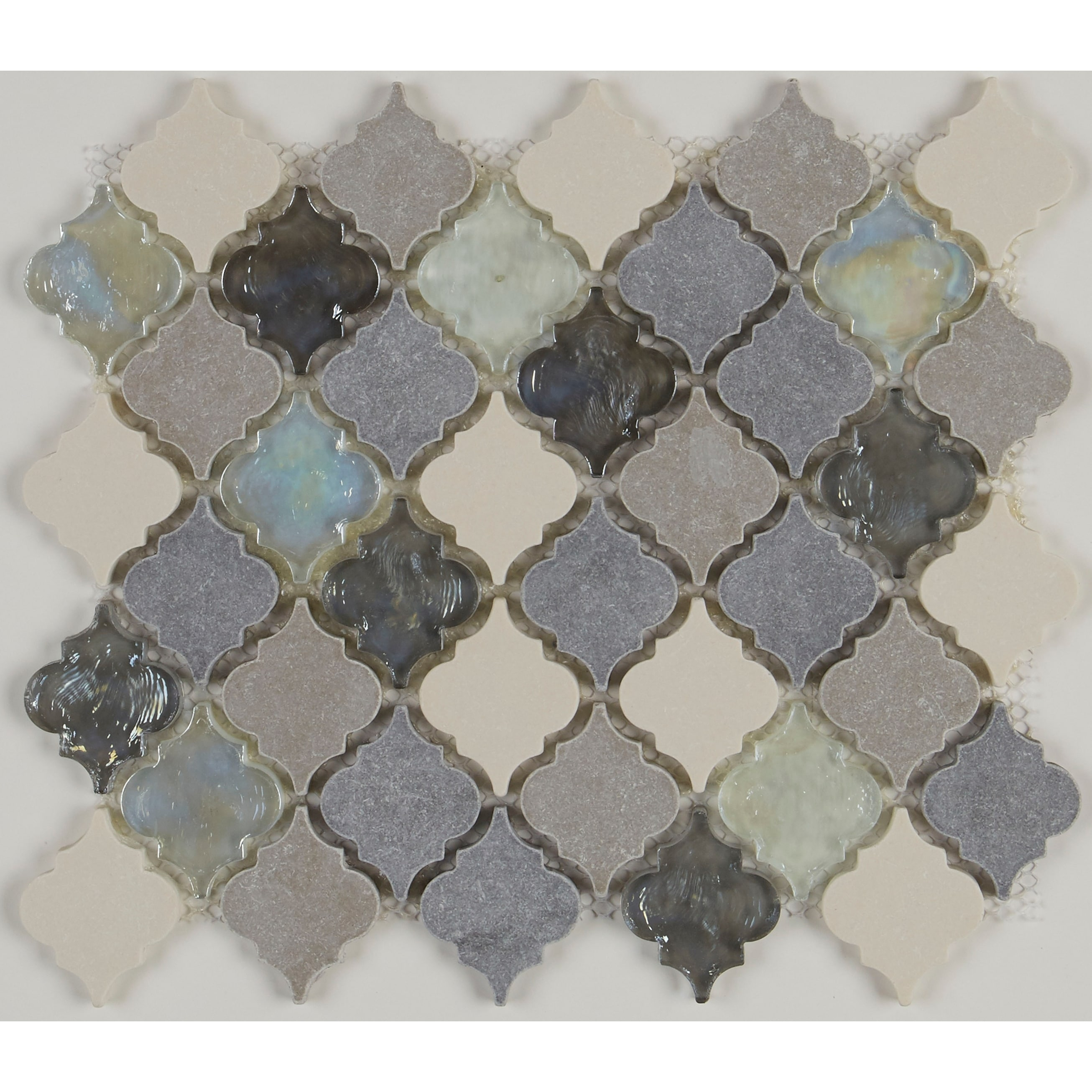 Gris Et Beige Decorative Stone Accent 2 Inch Baroque Mosaic Tile In Gris Et Blanc 12 75x12