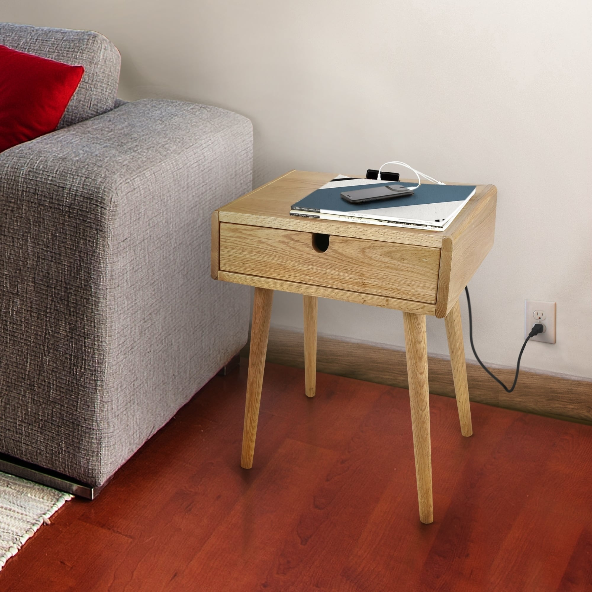 Freedom Furniture Lounges Freedom Nightstand End Table With Usb Ports Made Of Solid American Oak