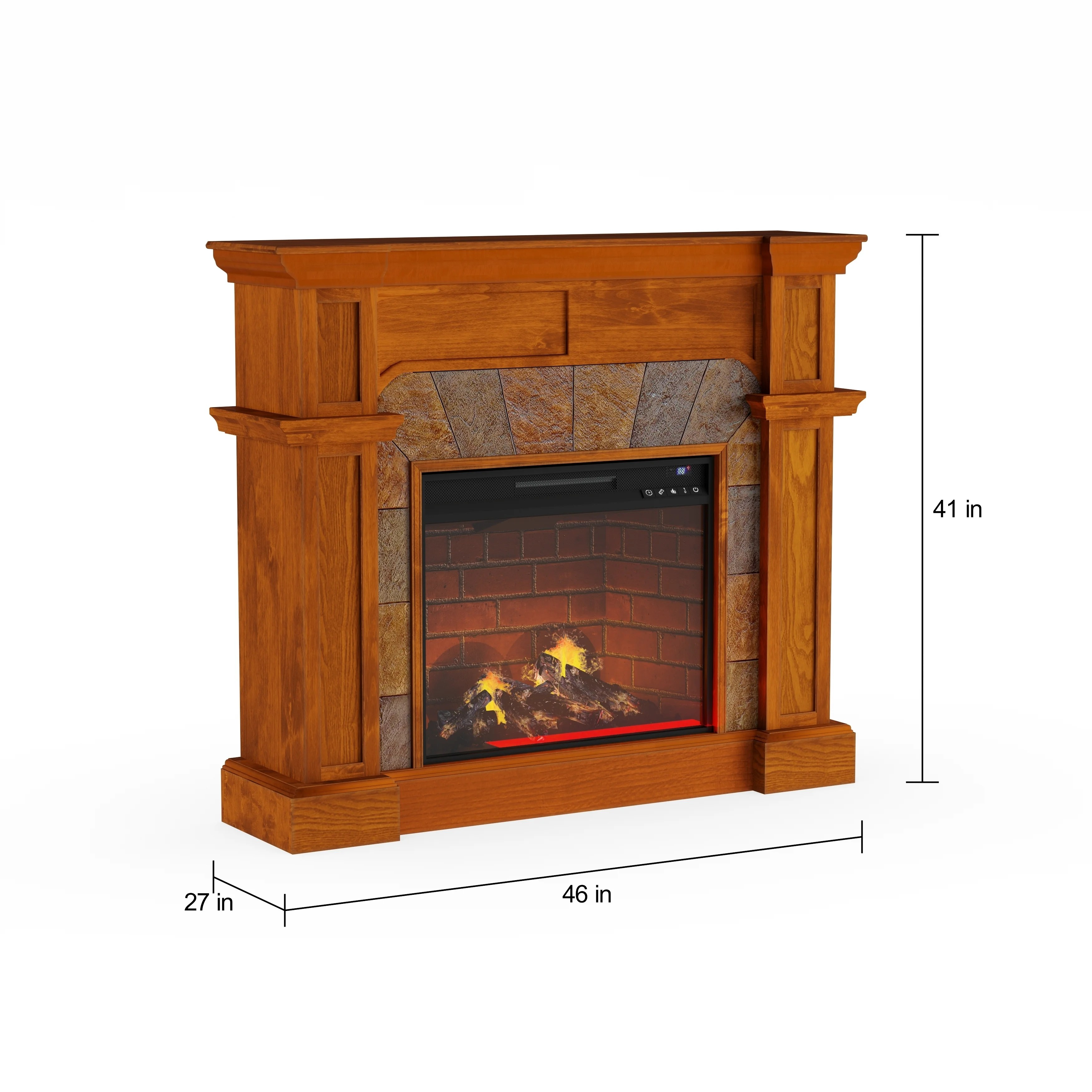 Fireplace Stone Copper Grove Amistad Mission Oak Faux Stone Corner Infrared Fireplace