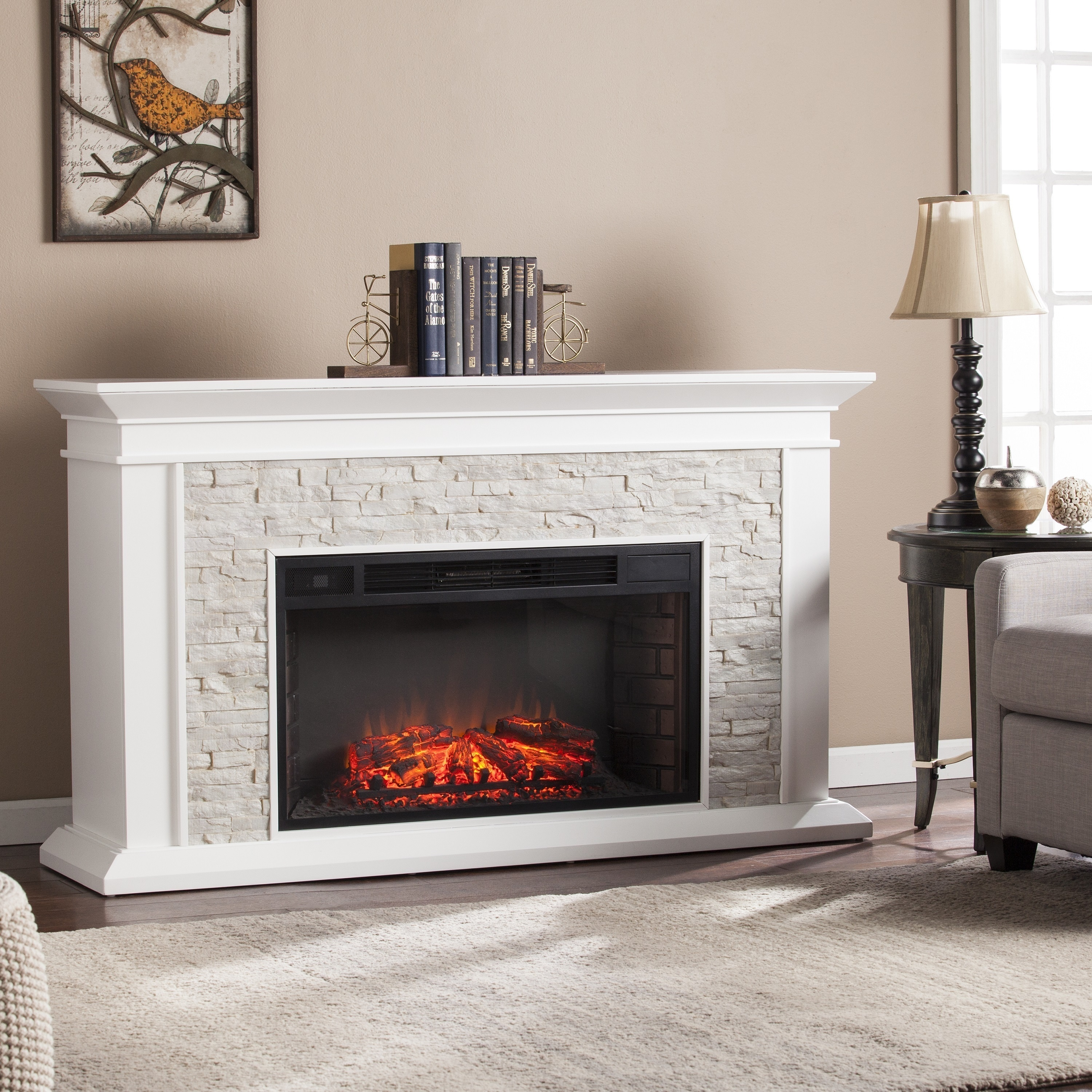 Artificial Fireplaces Copper Grove Horse Mountain White Faux Stone Widescreen Electric Fireplace
