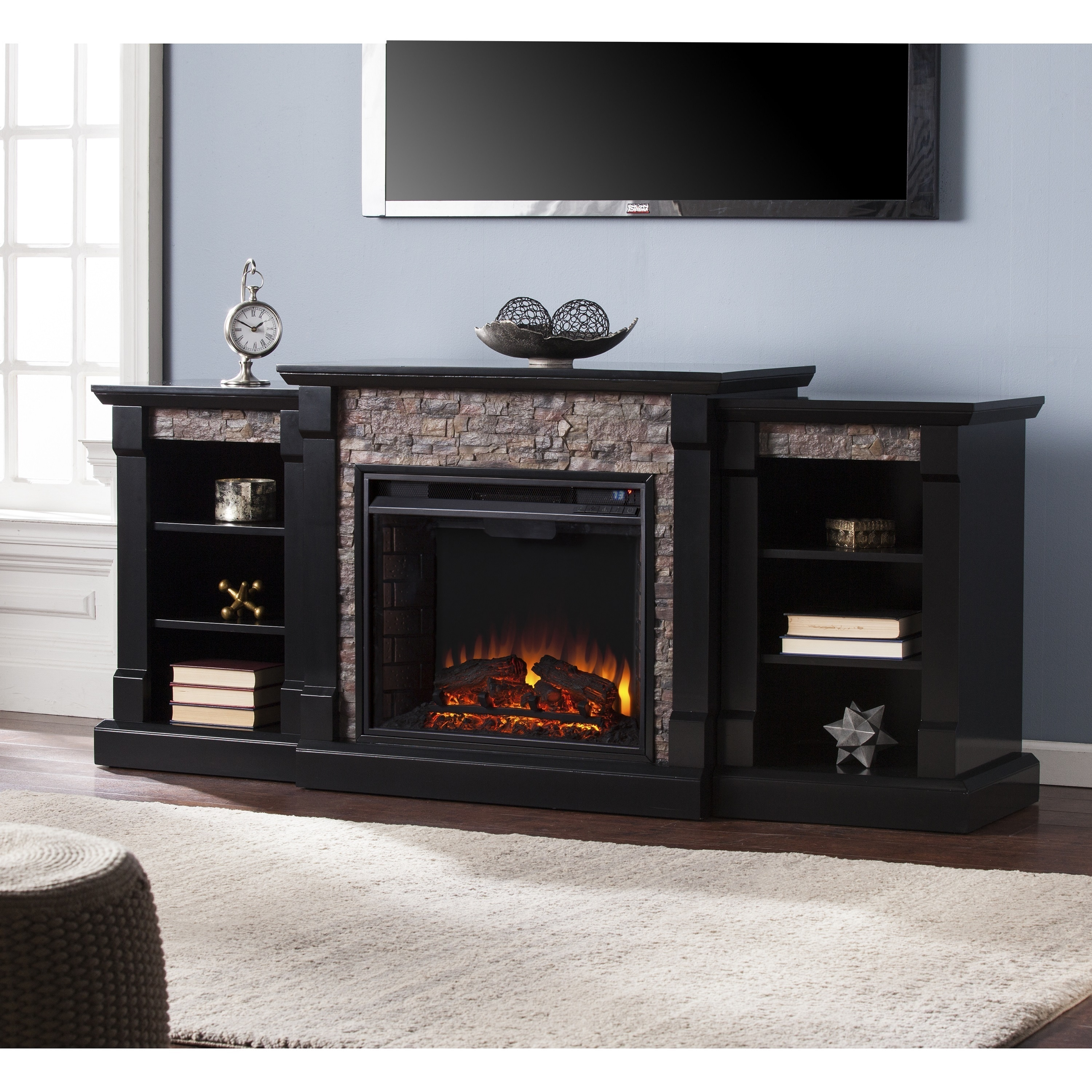 Fire Stones For Fireplace Copper Grove Hay River Black Faux Stone Electric Fireplace With Bookcases