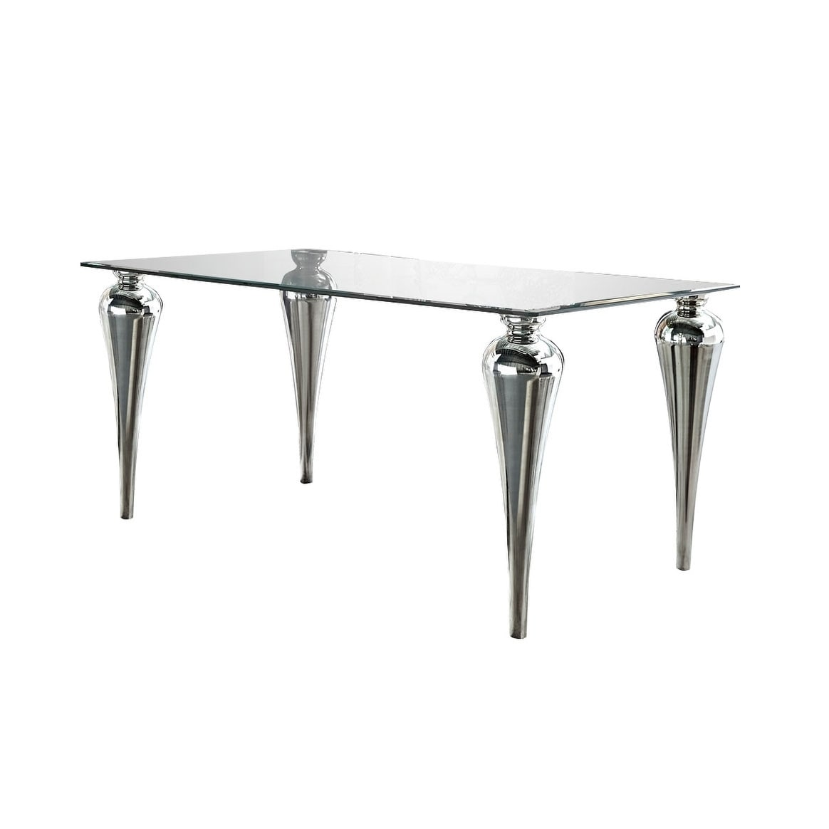 Table Metal Blanc Blanc Rectangle Metal Glass Dining Table