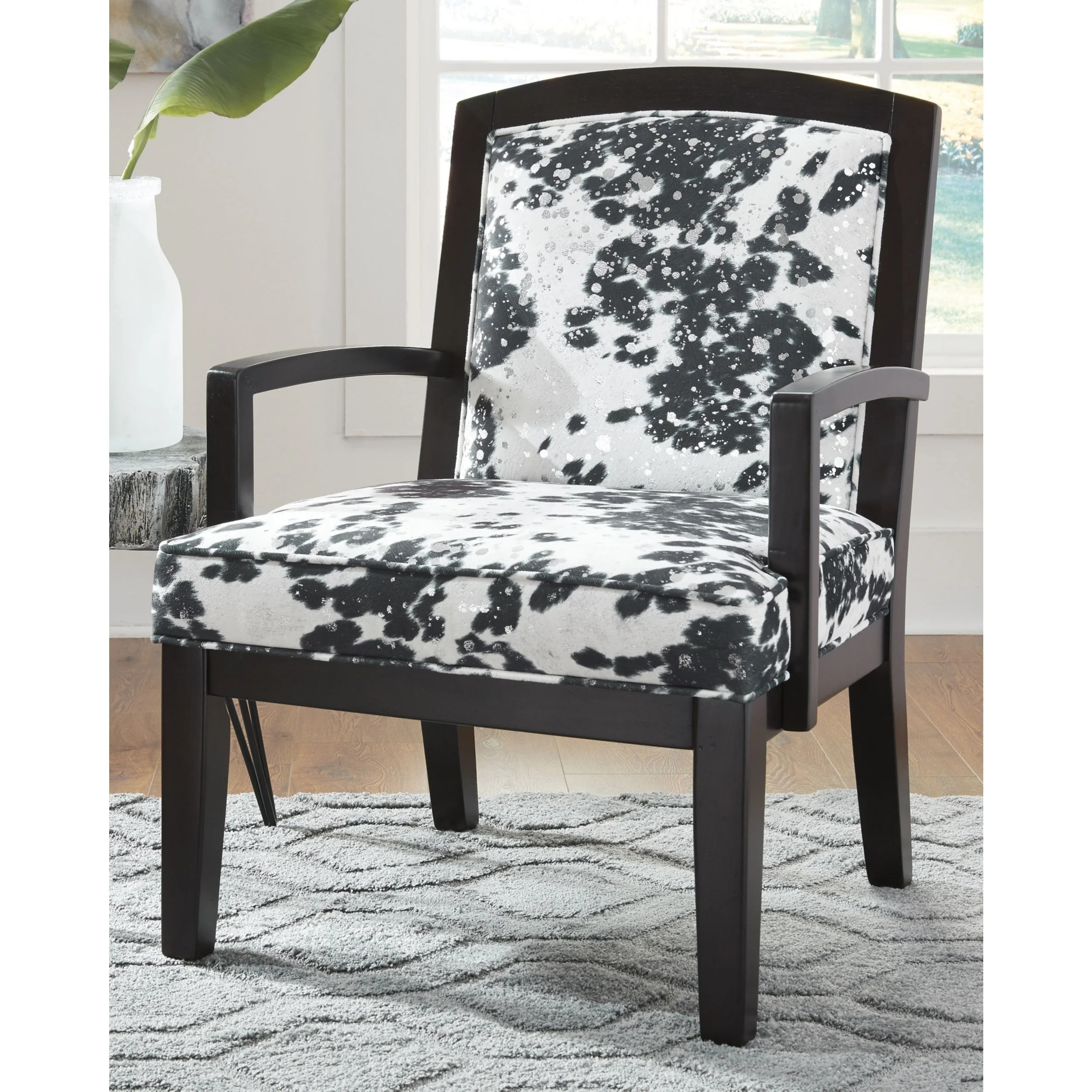 Black And White Accent Chair Signature Design By Ashley Treven Black White Upholstered Wood Accent Chair