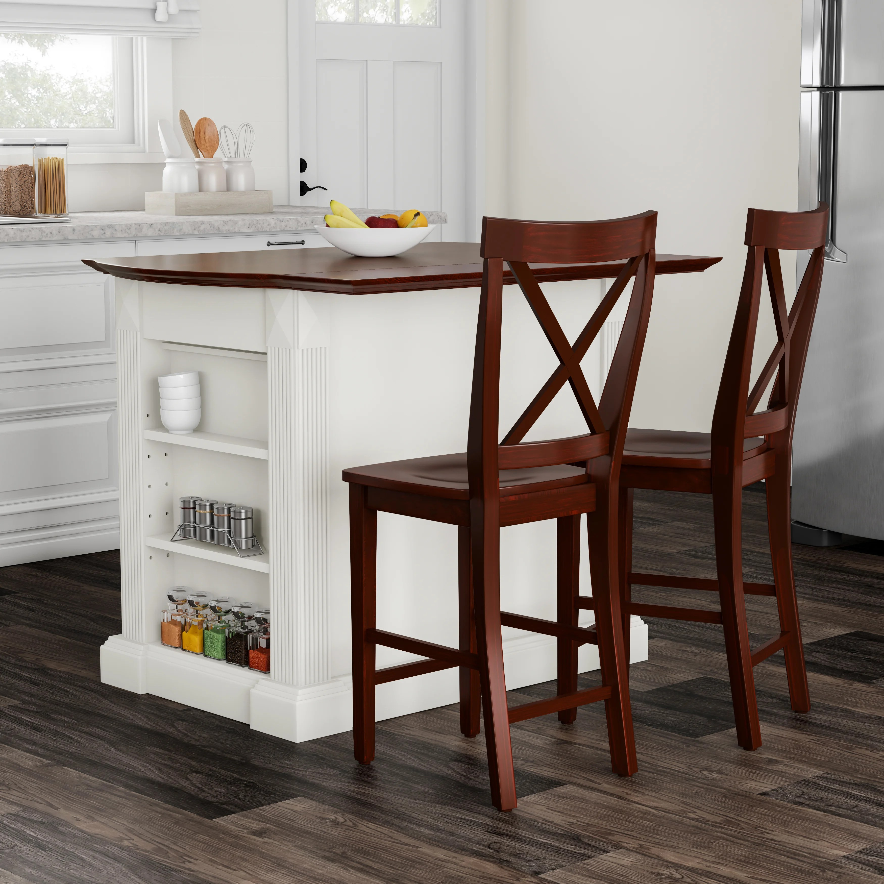 Stools Kitchen Islands Copper Grove Sumpter Drop Leaf Breakfast Bar Top Kitchen Island In White Finish With 24