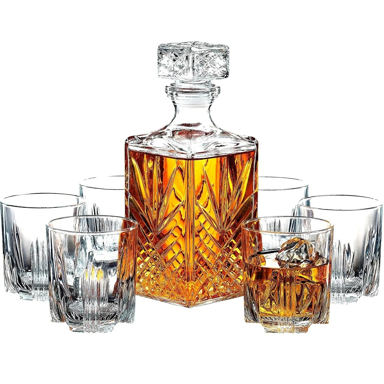 Wisky Glas 7 Piece Italian Crafted Glass Decanter Whisky Glasses Set Elegant Decanter With Ornate Stopper And 6 Exquisite Glasses