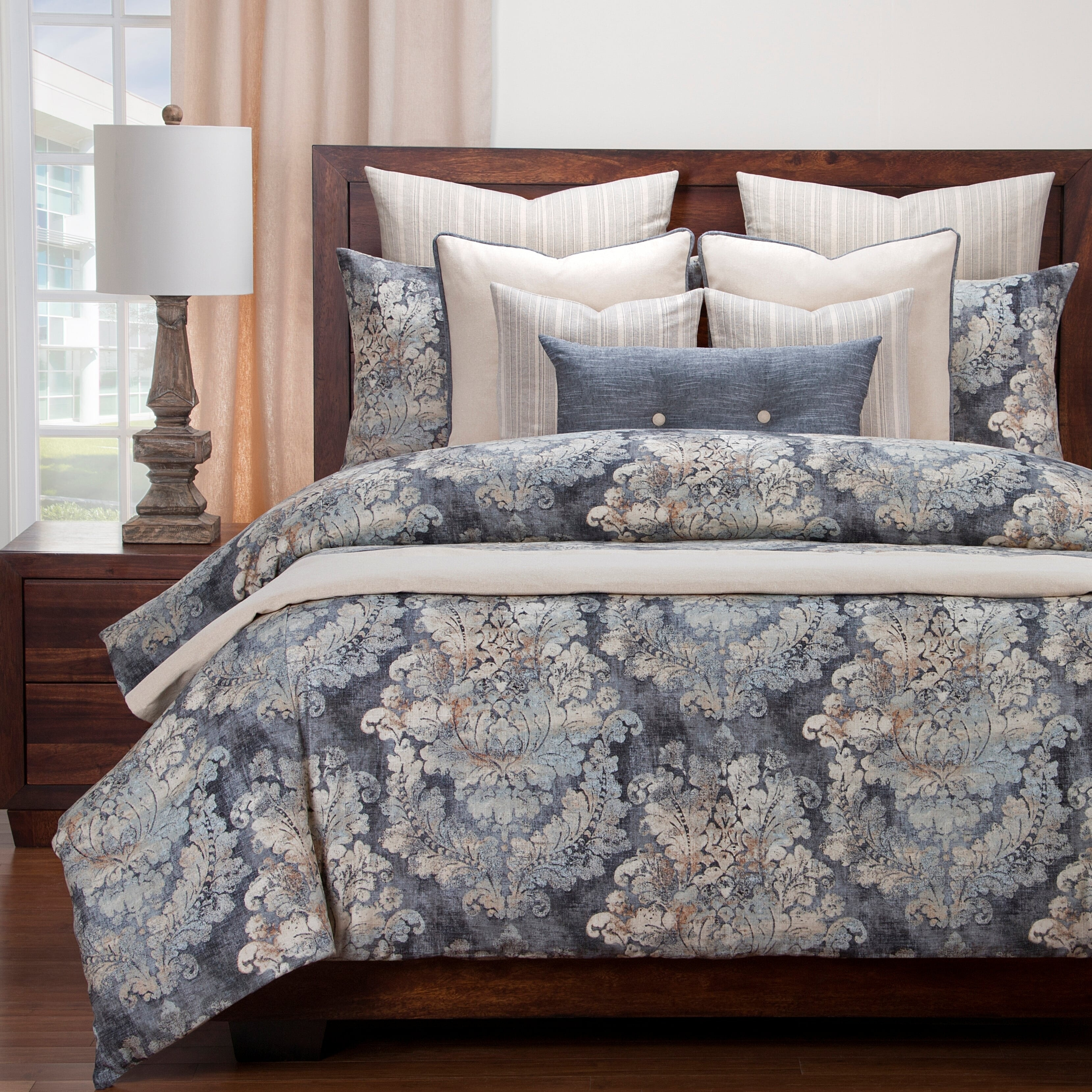 Damask Duvet Siscovers Cindersmoke Distressed Damask Duvet And Shams