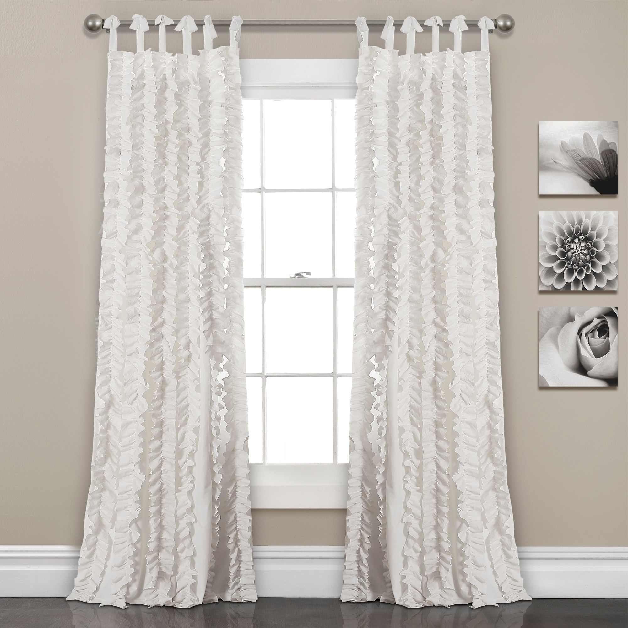 Ruffle Curtain Panel Lush Decor Sophia Ruffle Window Curtain Panel Pair 40