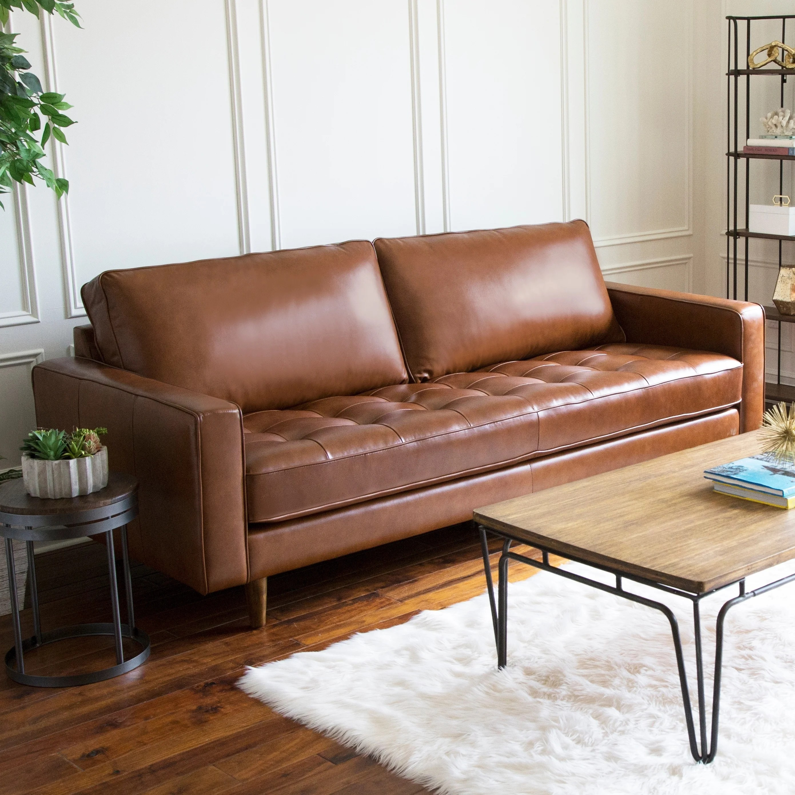 Brown Real Leather Couch Abbyson Holloway Mid Century Top Grain Leather Sofa