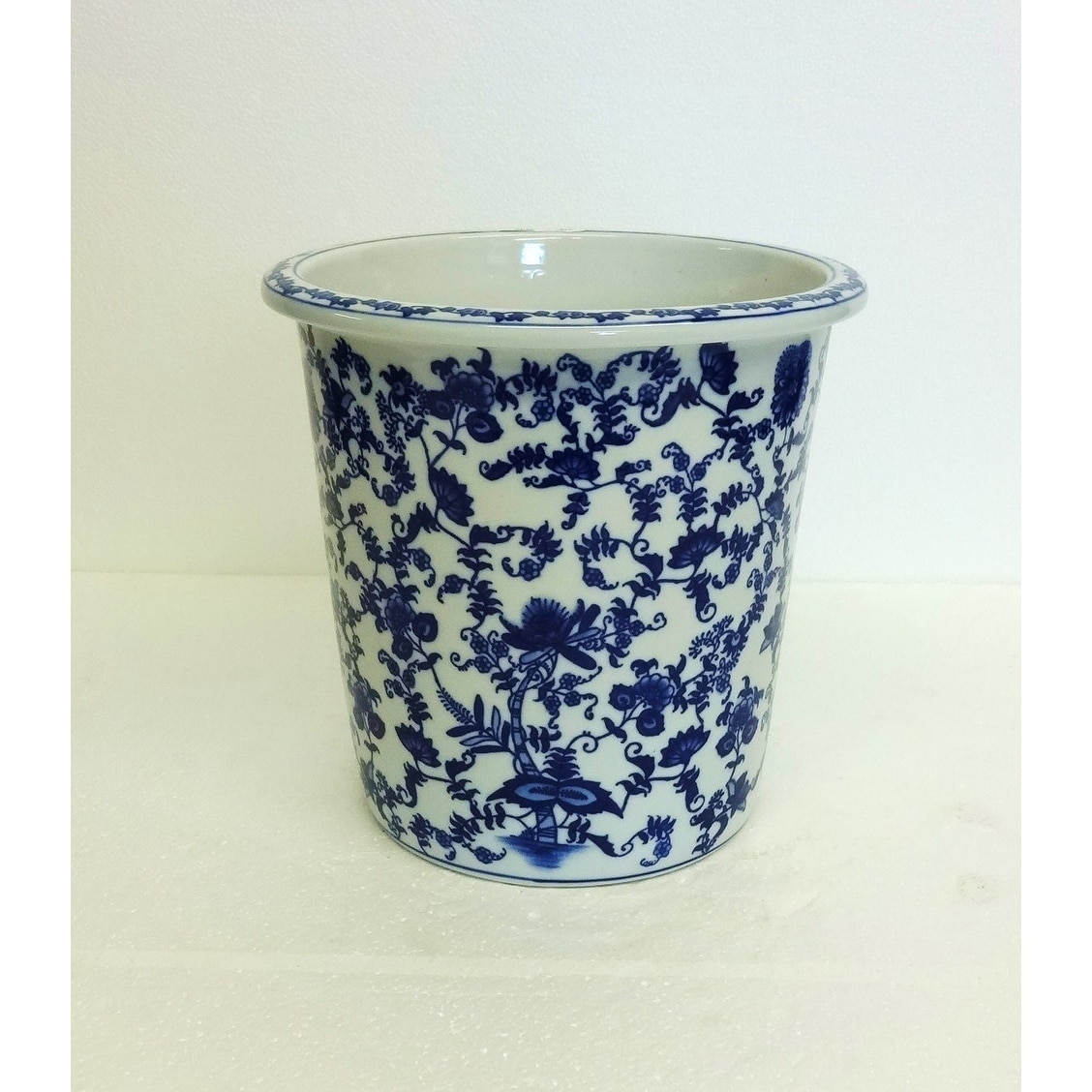 Shabby Chic Waste Baskets Floral Blue And White Porcelain Waste Basket Cache Pot