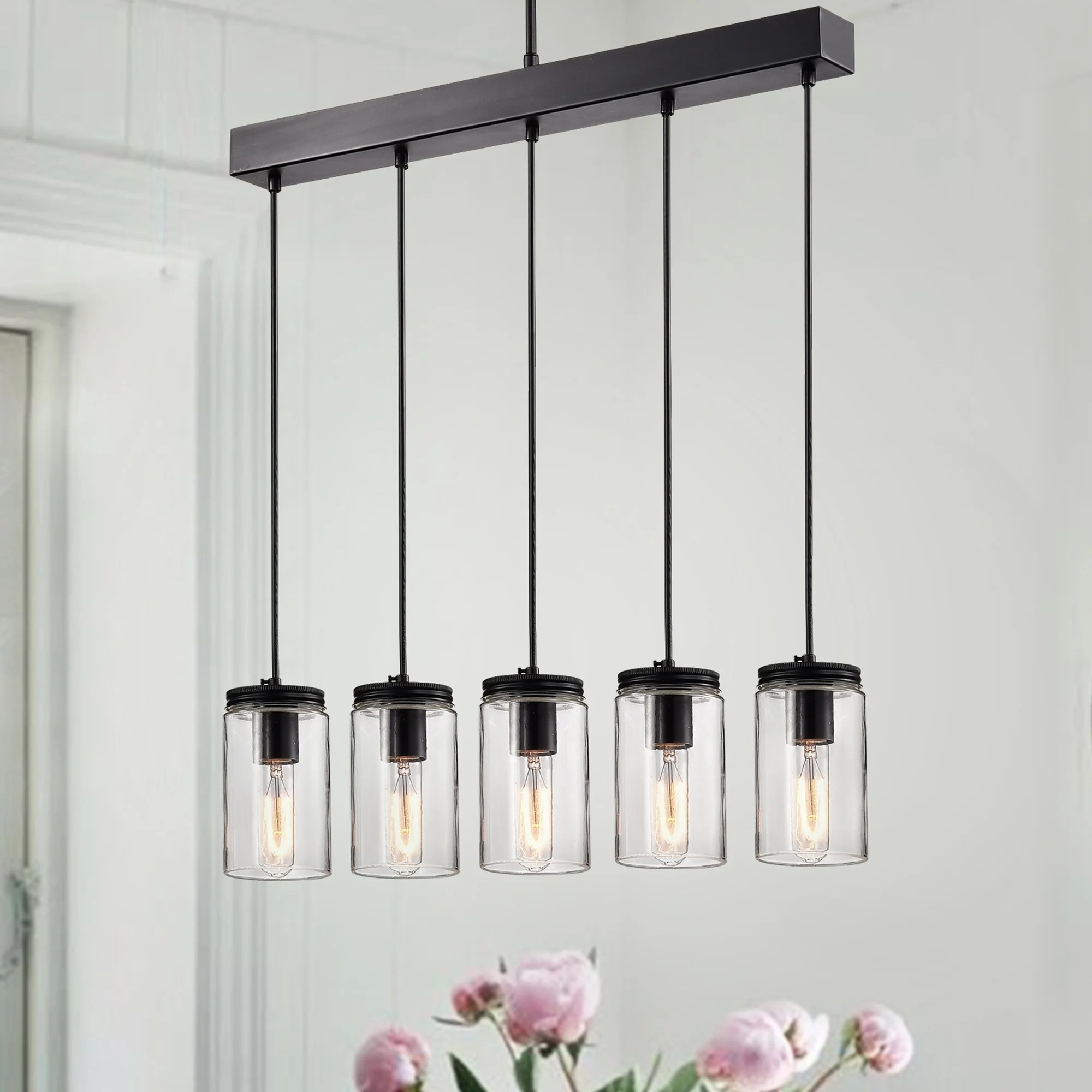 Glass Jar Lamp Shade Shop Nando Matte Black 5 Light Linear Chandelier With Clear Glass