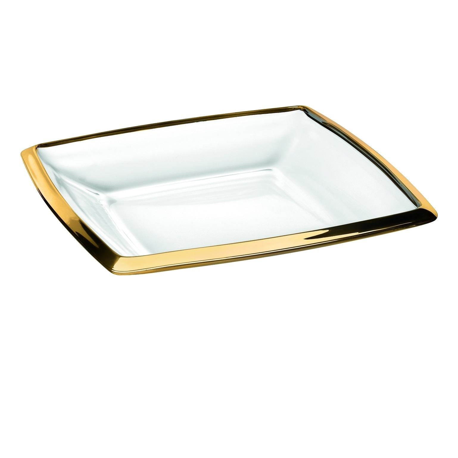 Gold Serving Tray Majestic Gifts European High Quality Glass Platter Serving Tray Plate With Gold Rim 11