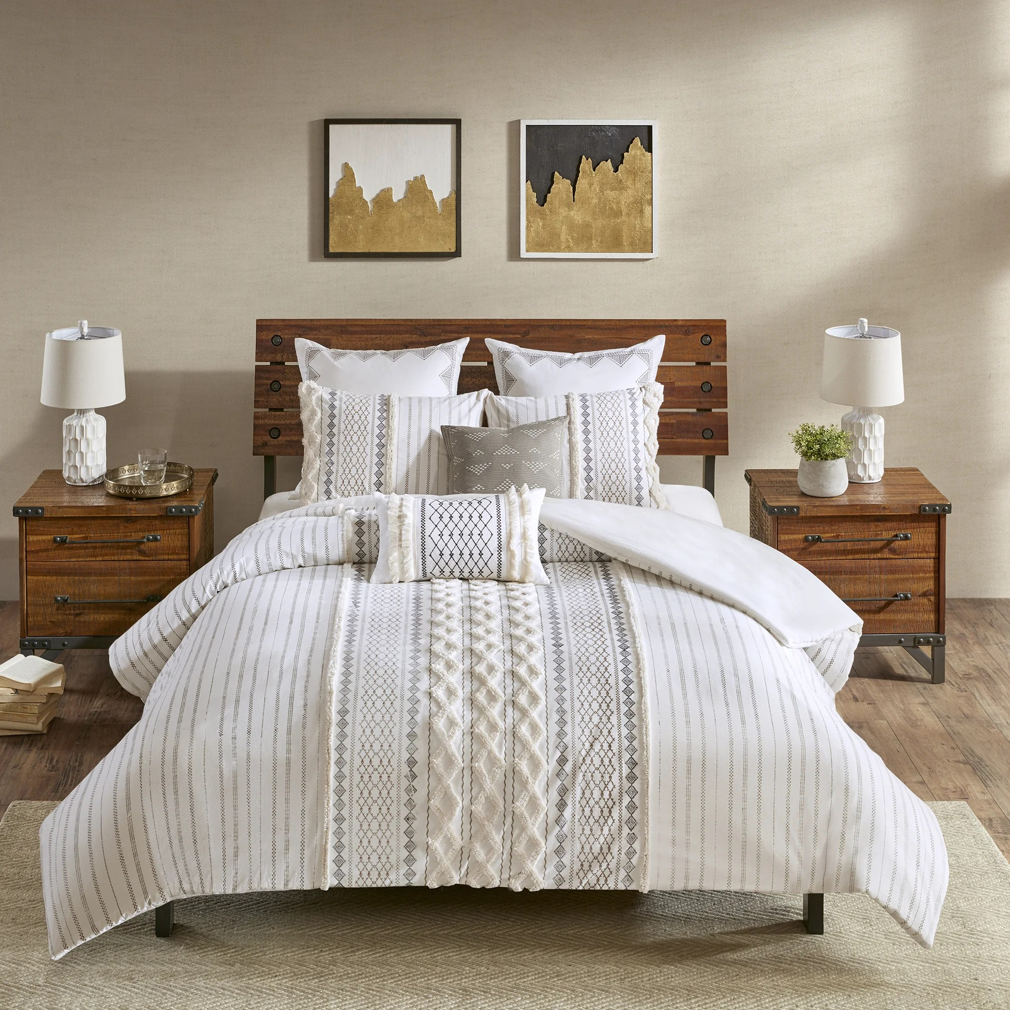 Quilt Cover King Ink Ivy Imani Cotton 3 Piece King Cal King Size Duvet Cover Set In Ivory As Is Item