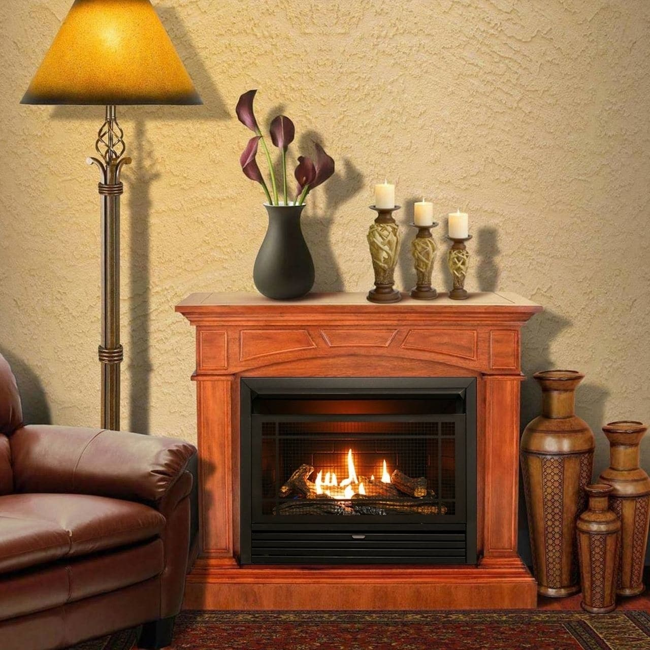 Btu Gas Fireplace Duluth Forge Dual Fuel Ventless Gas Fireplace 26 000 Btu Remote Control Heritage Cherry Finish