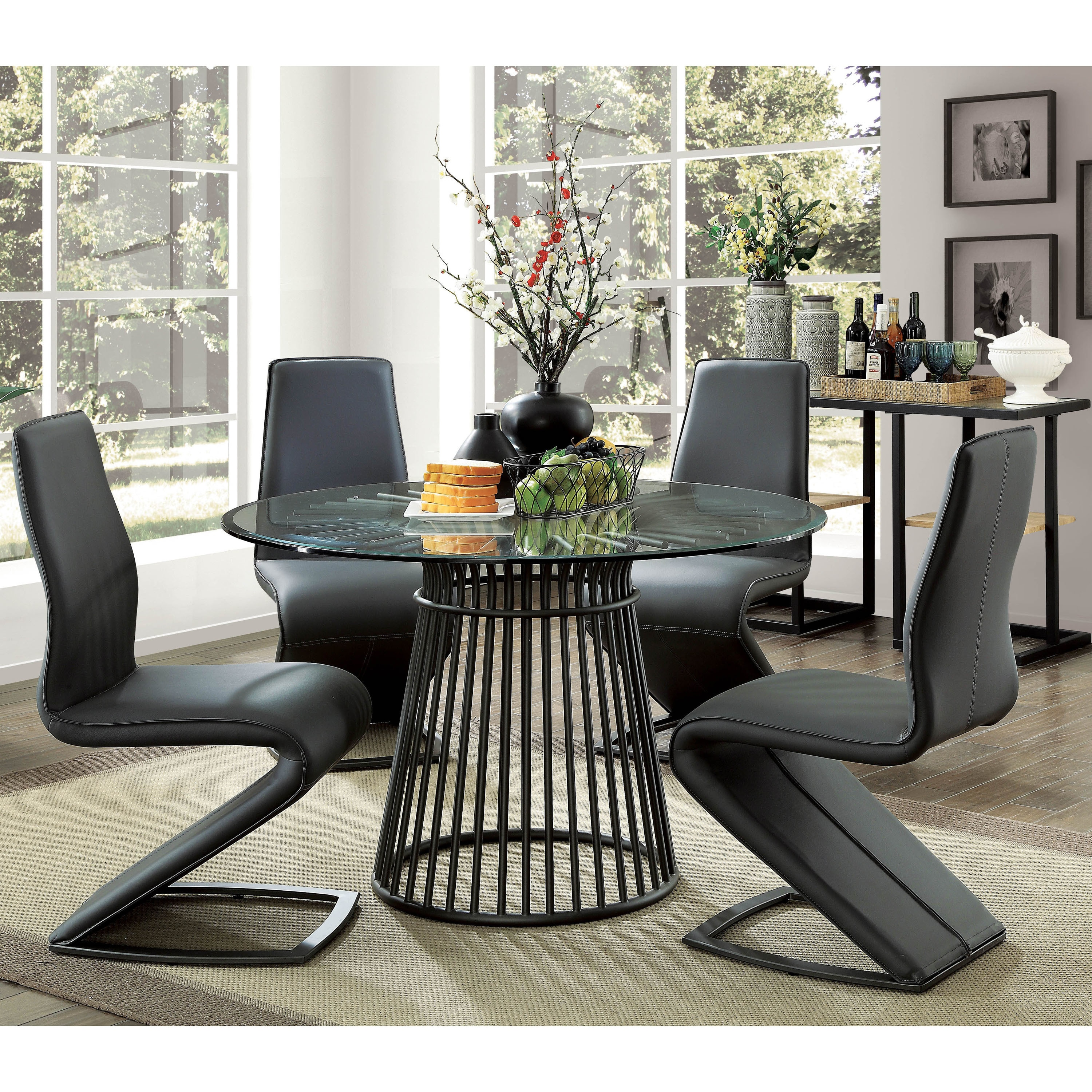 Modern Round Glass Dining Table Furniture Of America Byron Modern Round 48 Inch Glass Top Dining Table Black