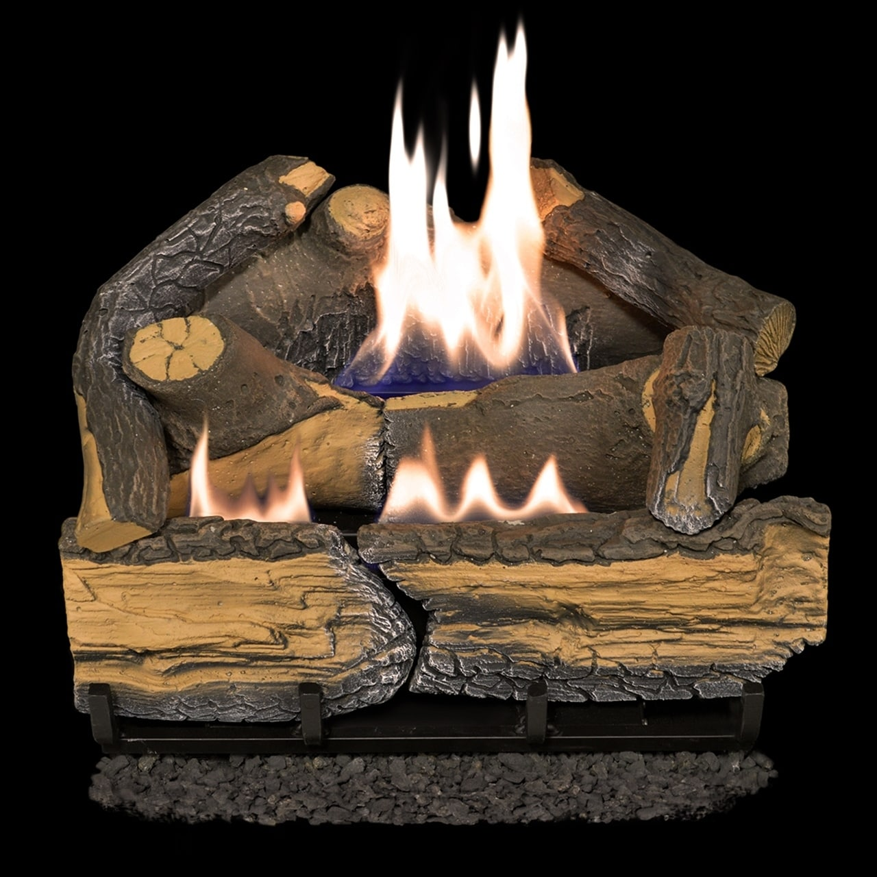How Much Do Gas Fireplace Logs Cost Cedar Ridge Hearth Recon 18 In 30 000 Btu Dual Burner Ventless Gas Fireplace Logs With Thermostat R Crhd18t