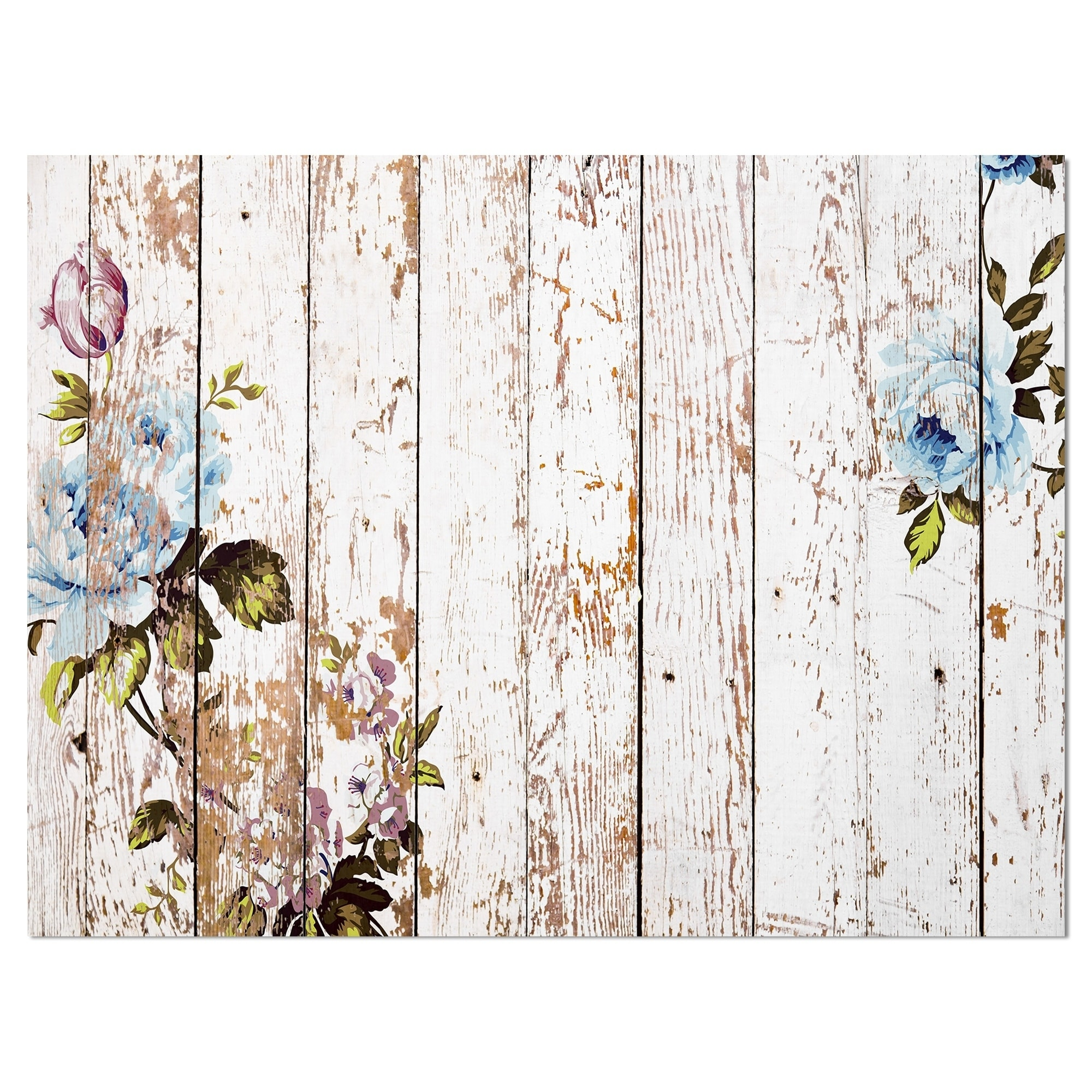 Bad Shabby Chic Designart Shabby Chic Roses On Wooden Texture Farmhouse Painting Print On Wrapped Canvas White