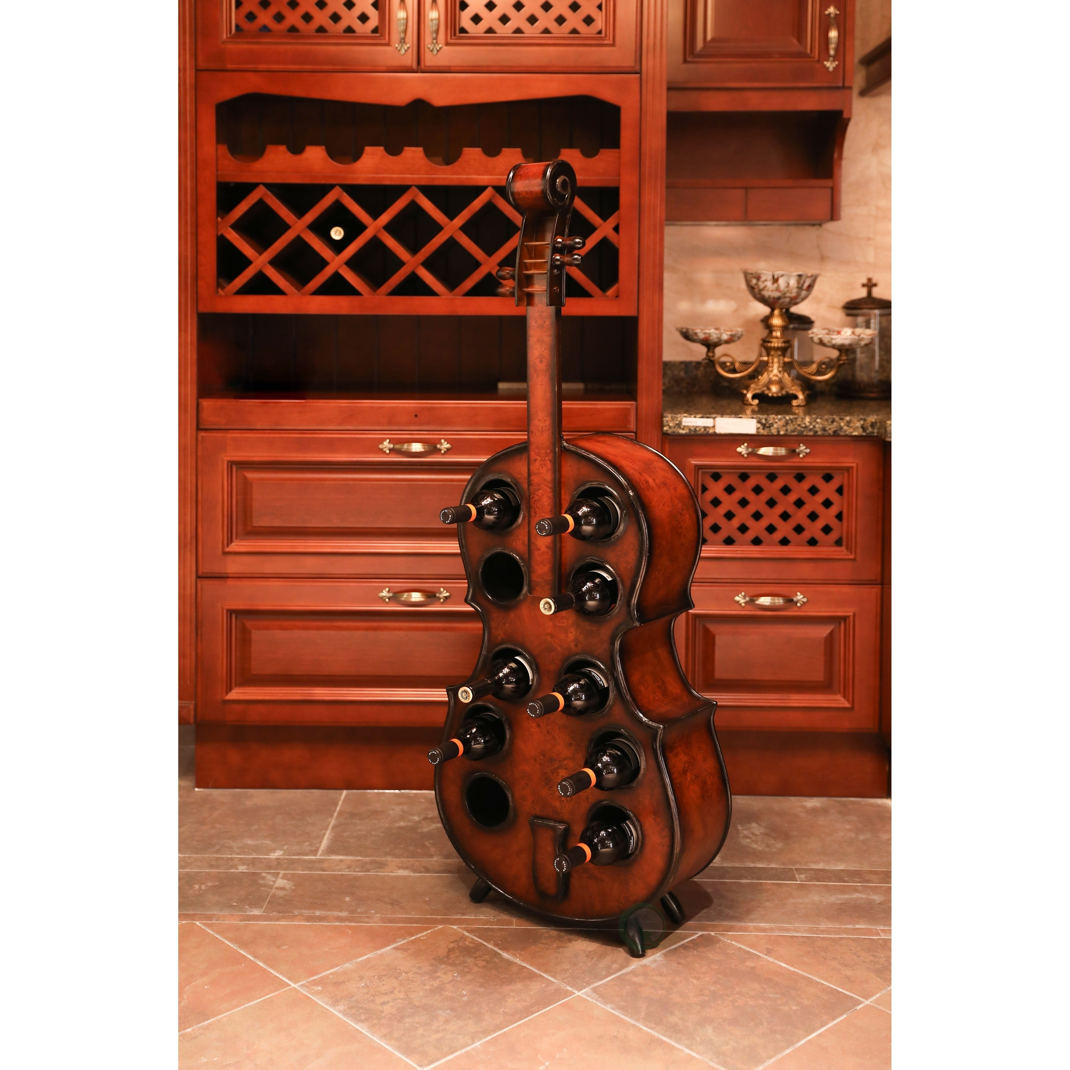 Decorative Metal Wine Racks Wooden Violin Shaped Wine Rack 10 Bottle Decorative Wine Holder