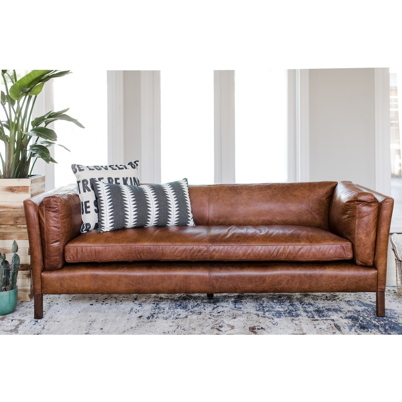 Couch Sofa Modern Leather Sofa Mid Century Modern Couch Top Grain Brazilian Leather Cognac Brown