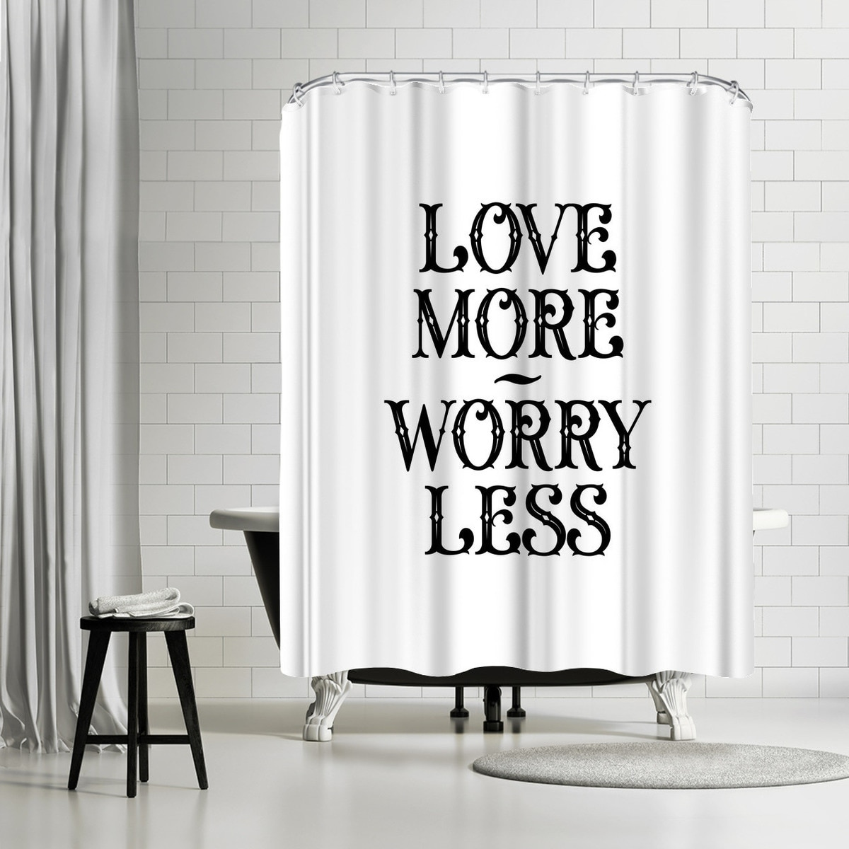 Shower Curtains For Less Americanflat Love More Worry Less Shower Curtain