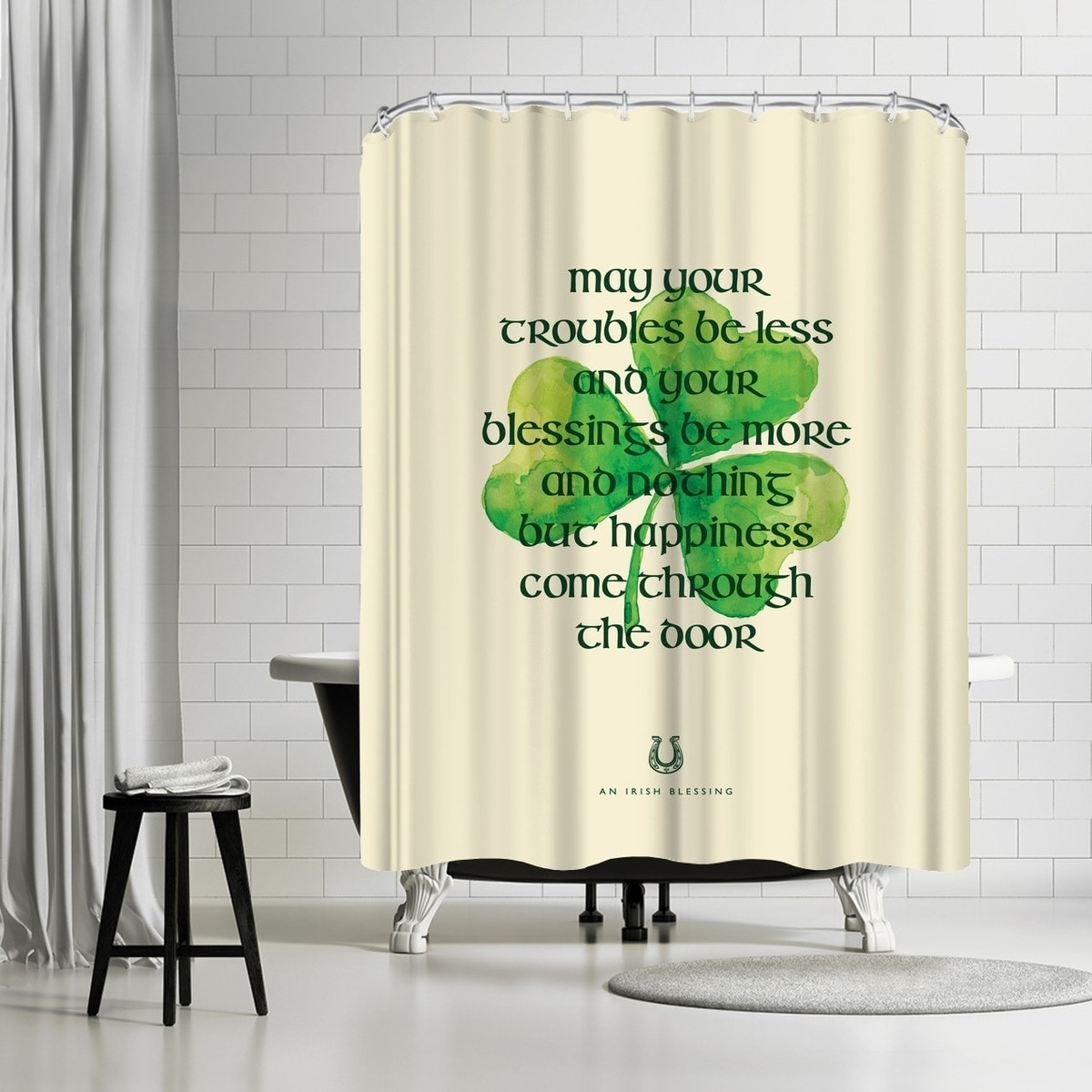 Shower Curtains For Less Americanflat May Your Troubles Be Less Shower Curtain