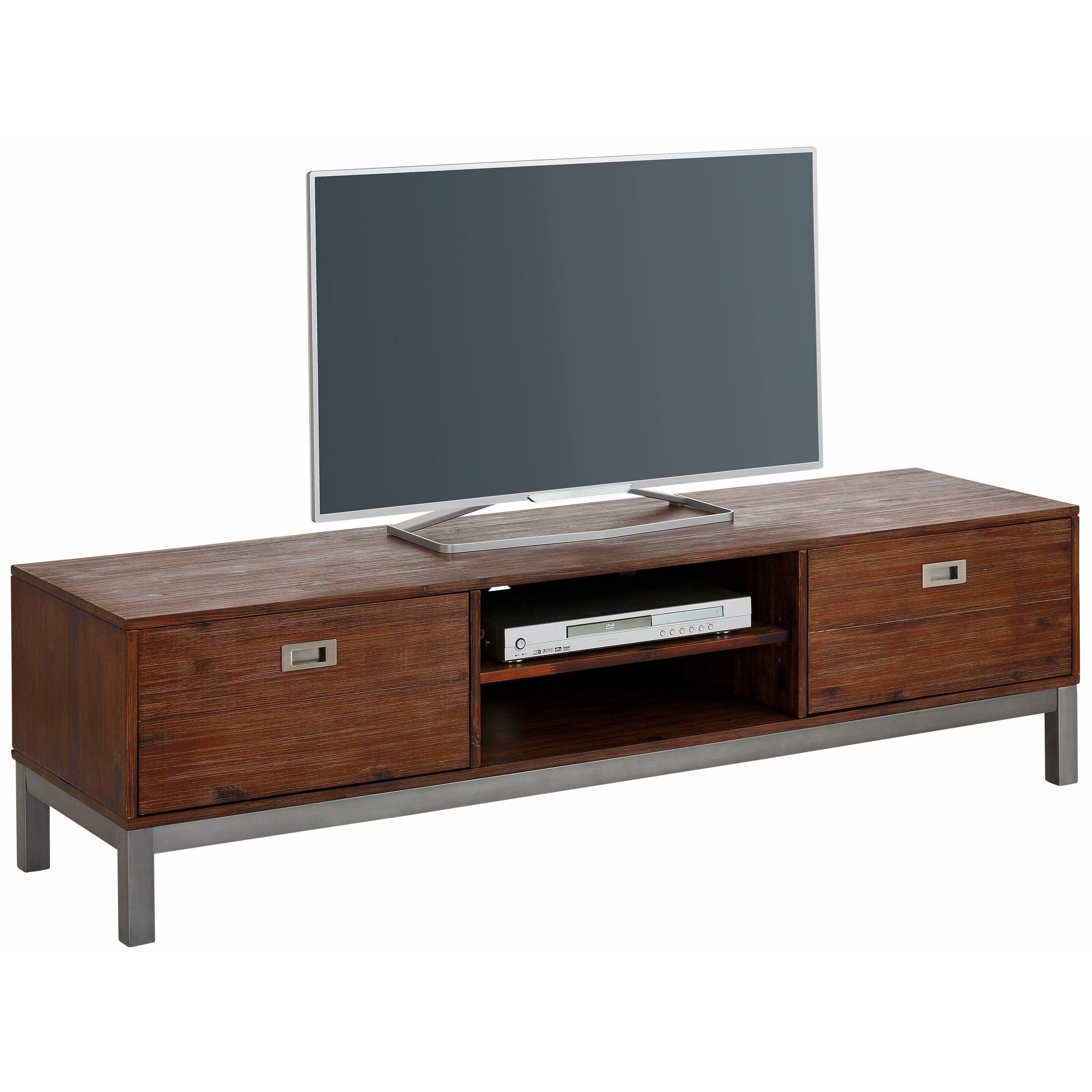 Tv Lowboard Industriedesign Congo Acacia Wood And Metal 2 Door Tv Lowboard Entertainment Center