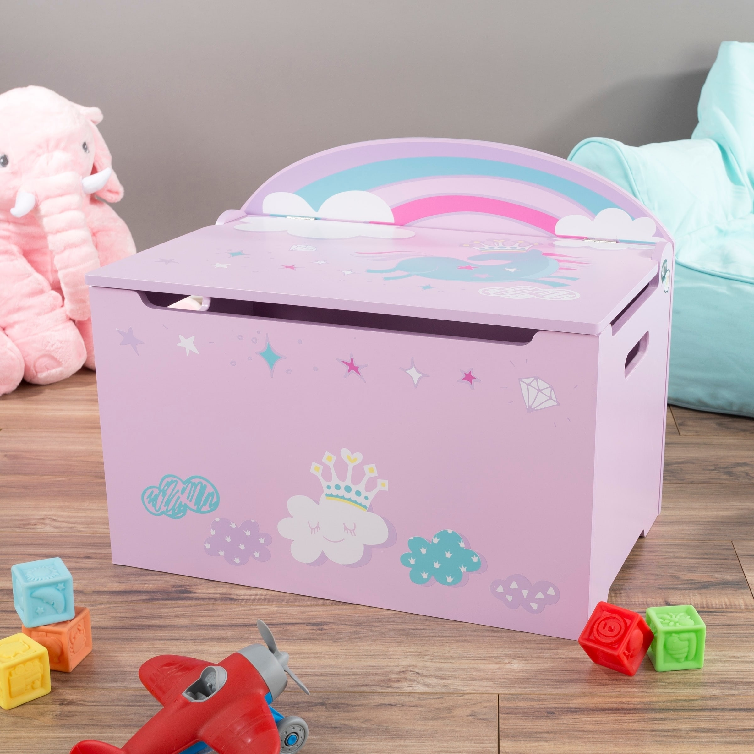 Toy Box Toys Toy Box Storage Bench Seat Kids Organization Chest Toys Stuffed Animals Clothes Blankets Bedroom And More By Hey Play