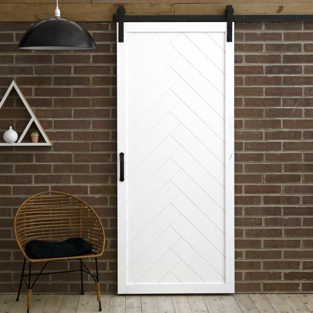 Barn Doors For Homes Herringbone Sliding Barn Door With Hardware 36