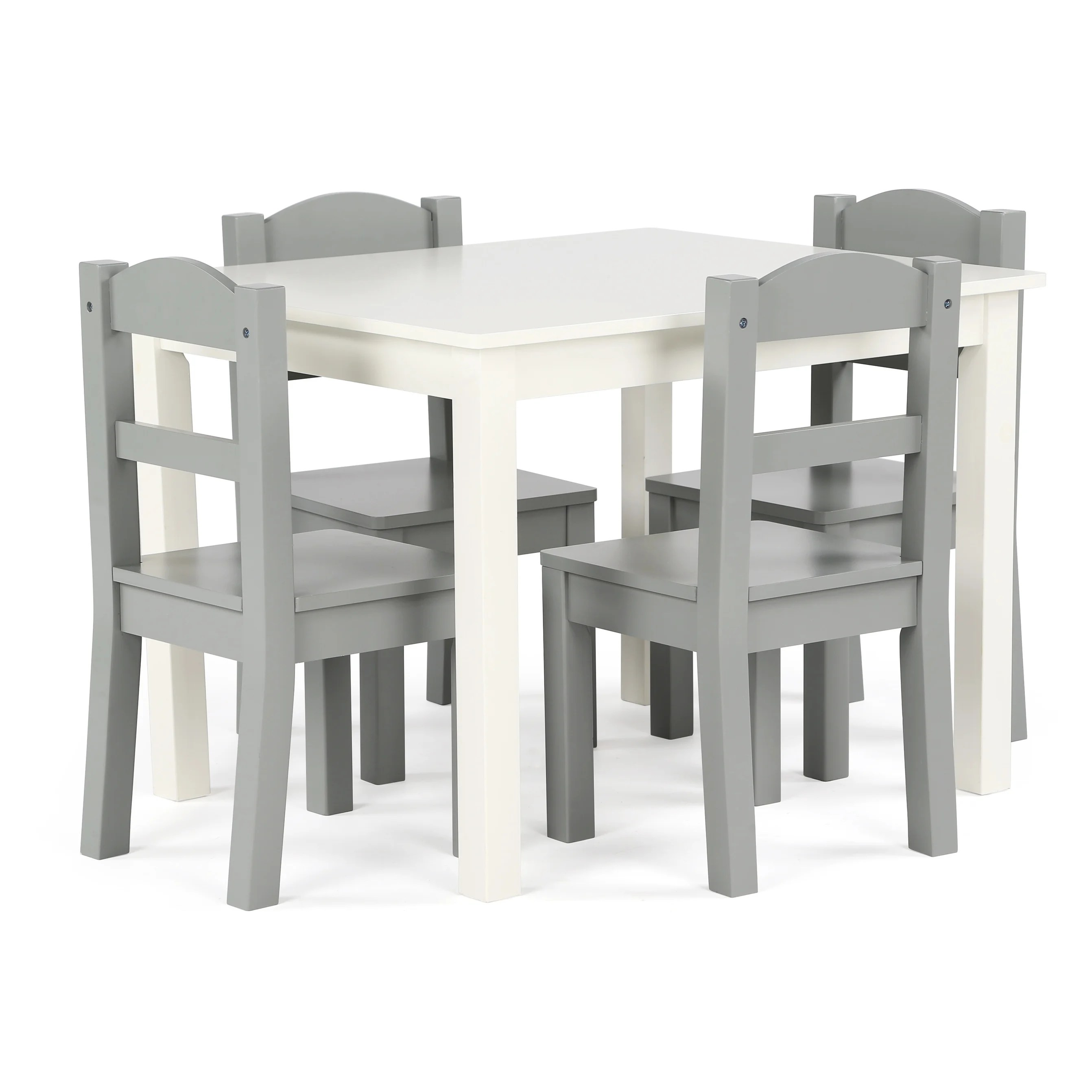 Childrens Table And Chair Set Springfield 5 Piece Wood Kids Table Chairs Set In White Grey