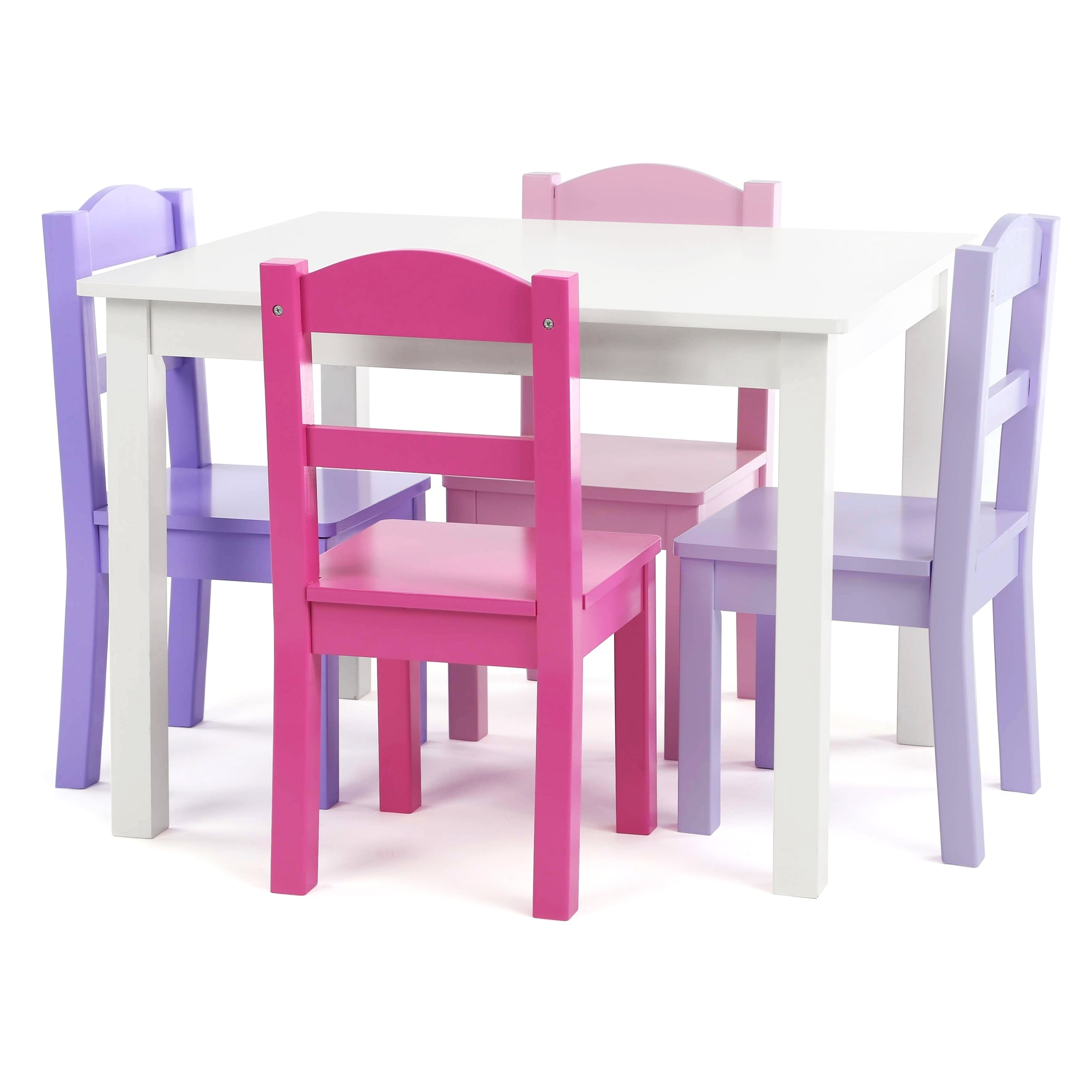 Childrens Table And Chair Set Forever 5 Piece Wood Kids Table Chairs Set In White Purple Pink