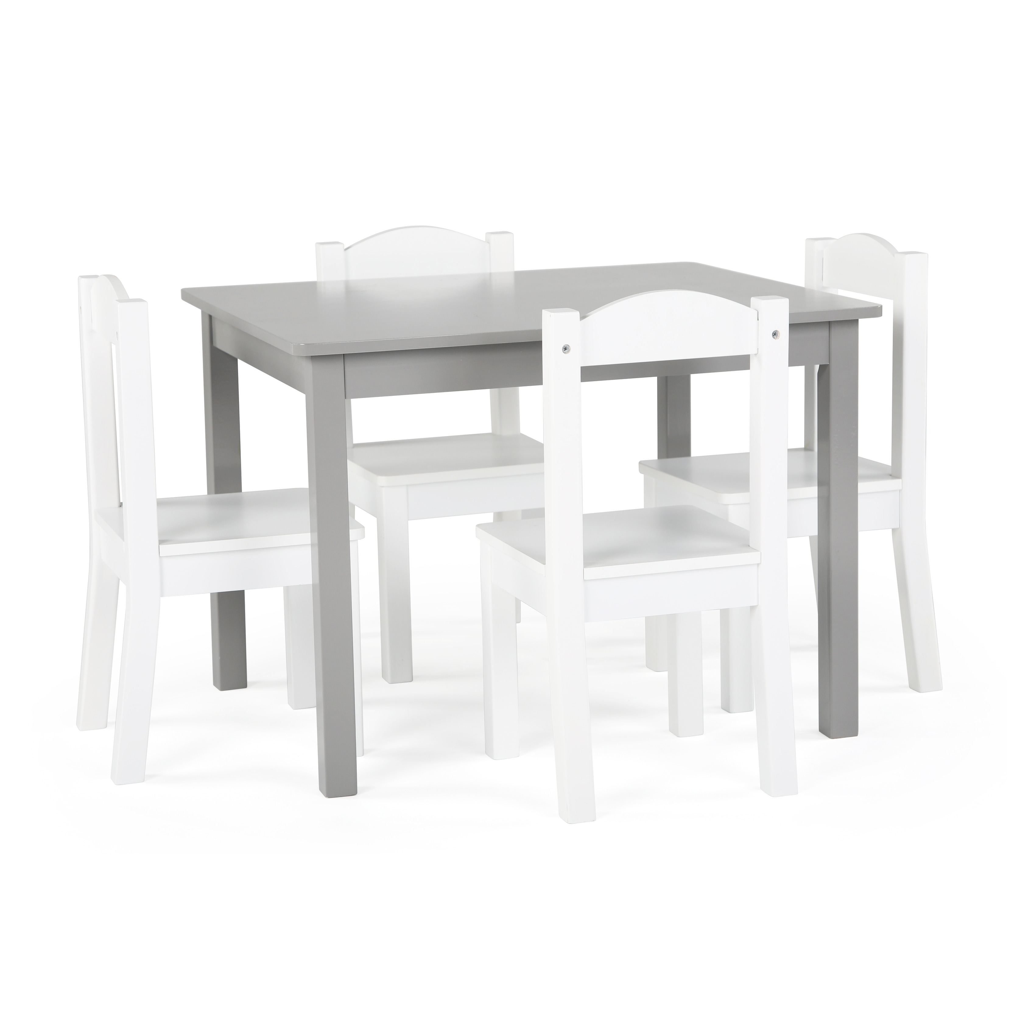 Childrens Table And Chair Set Inspire 5 Piece Wood Kids Table Chairs Set In Grey White