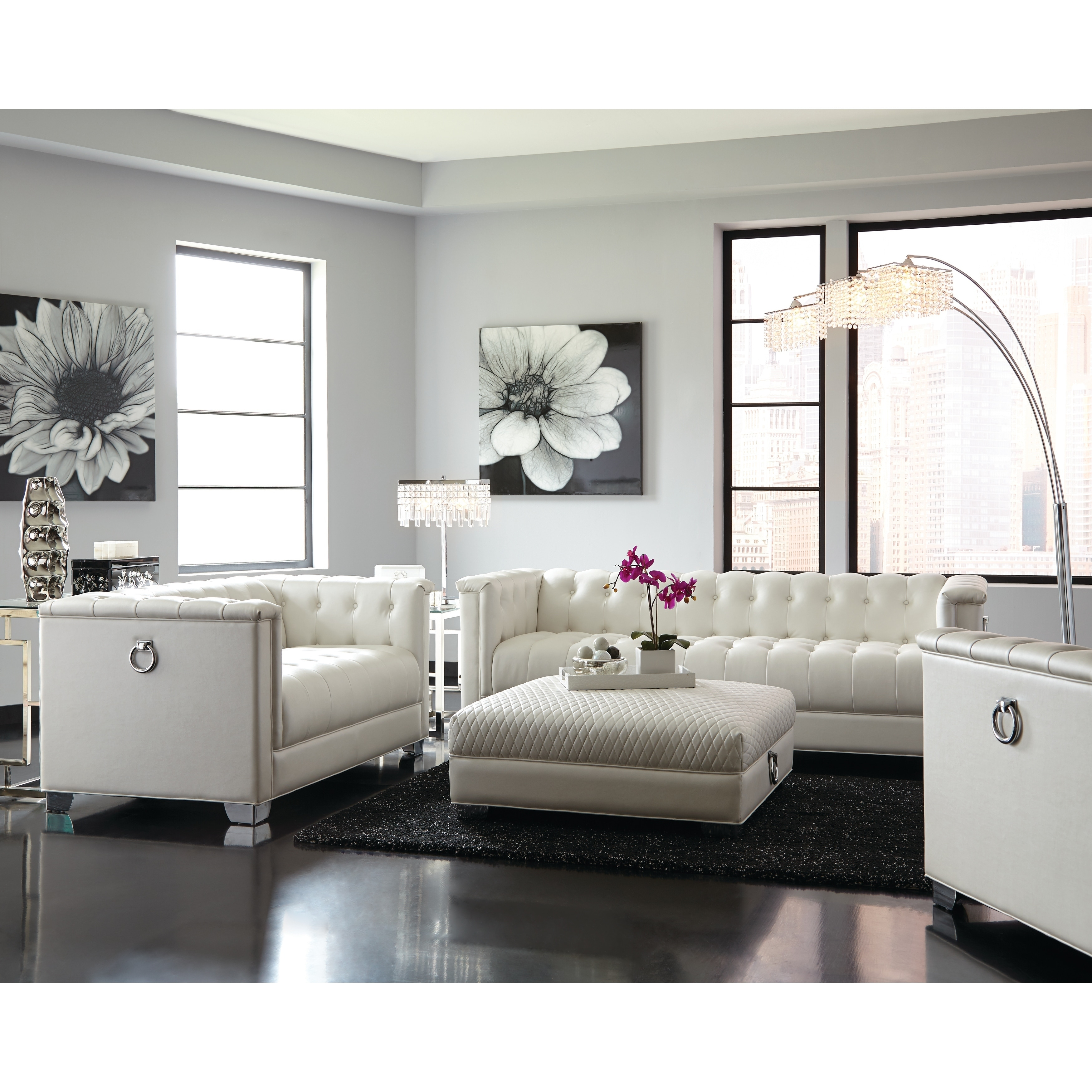 Contemporary Living Set Chaviano Contemporary White 2 Piece Living Room Set Sofa And Loveseat
