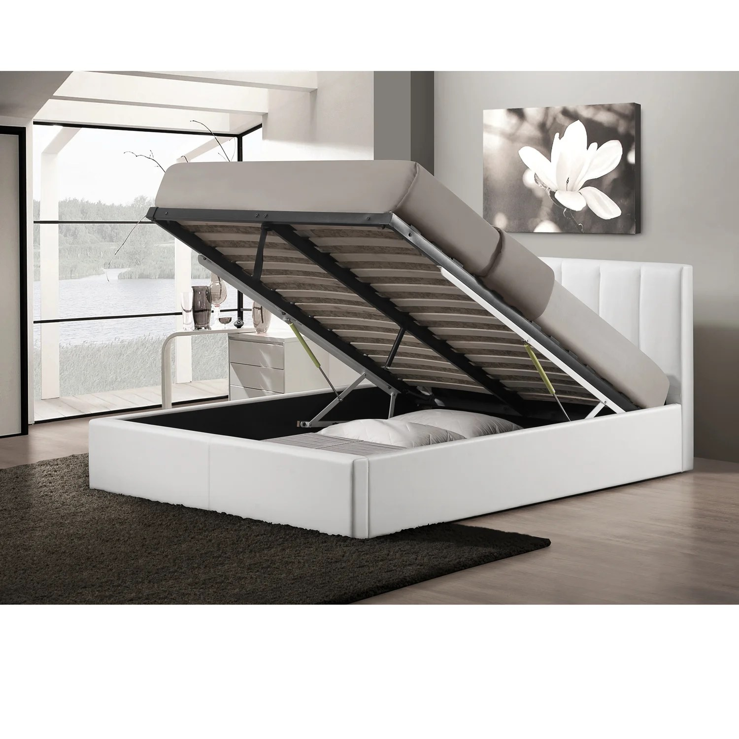 Gas Lift Storage Bed Ikea Strick Bolton Chana Upholstered White Storage Bed