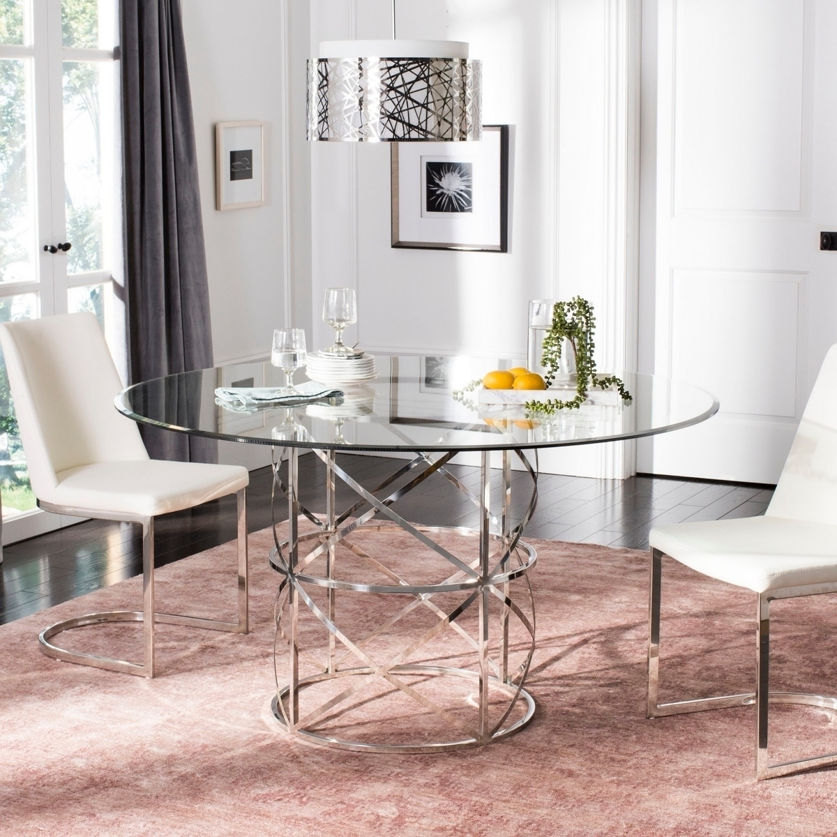 Round Glass Top Dining Table Safavieh Couture Ren Chrome Round Glass Top Dining Table Chrome Polished Stainless Steel 54