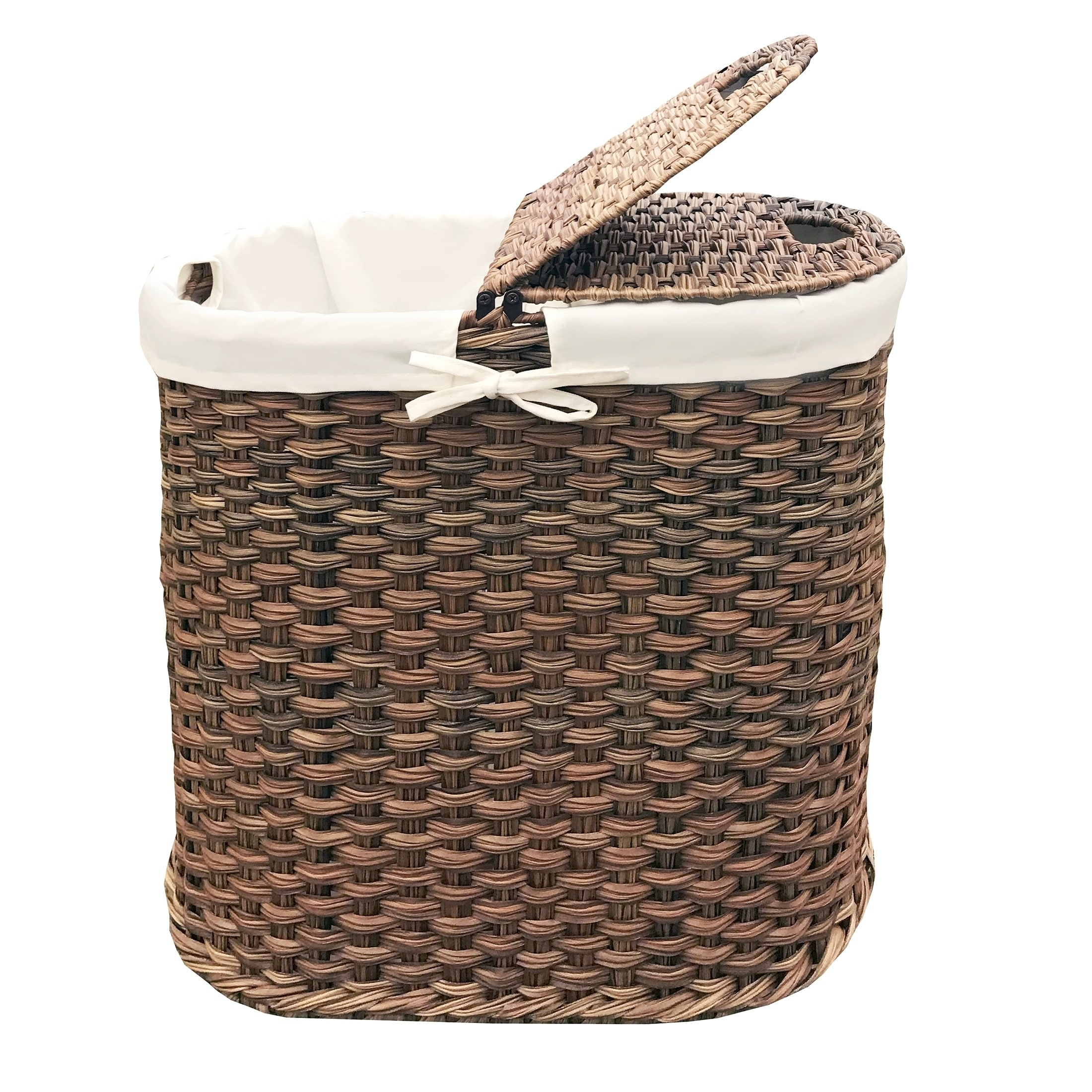Cute Laundry Hamper Mocha Hand Woven Oval Double Laundry Hamper With Removable Liner