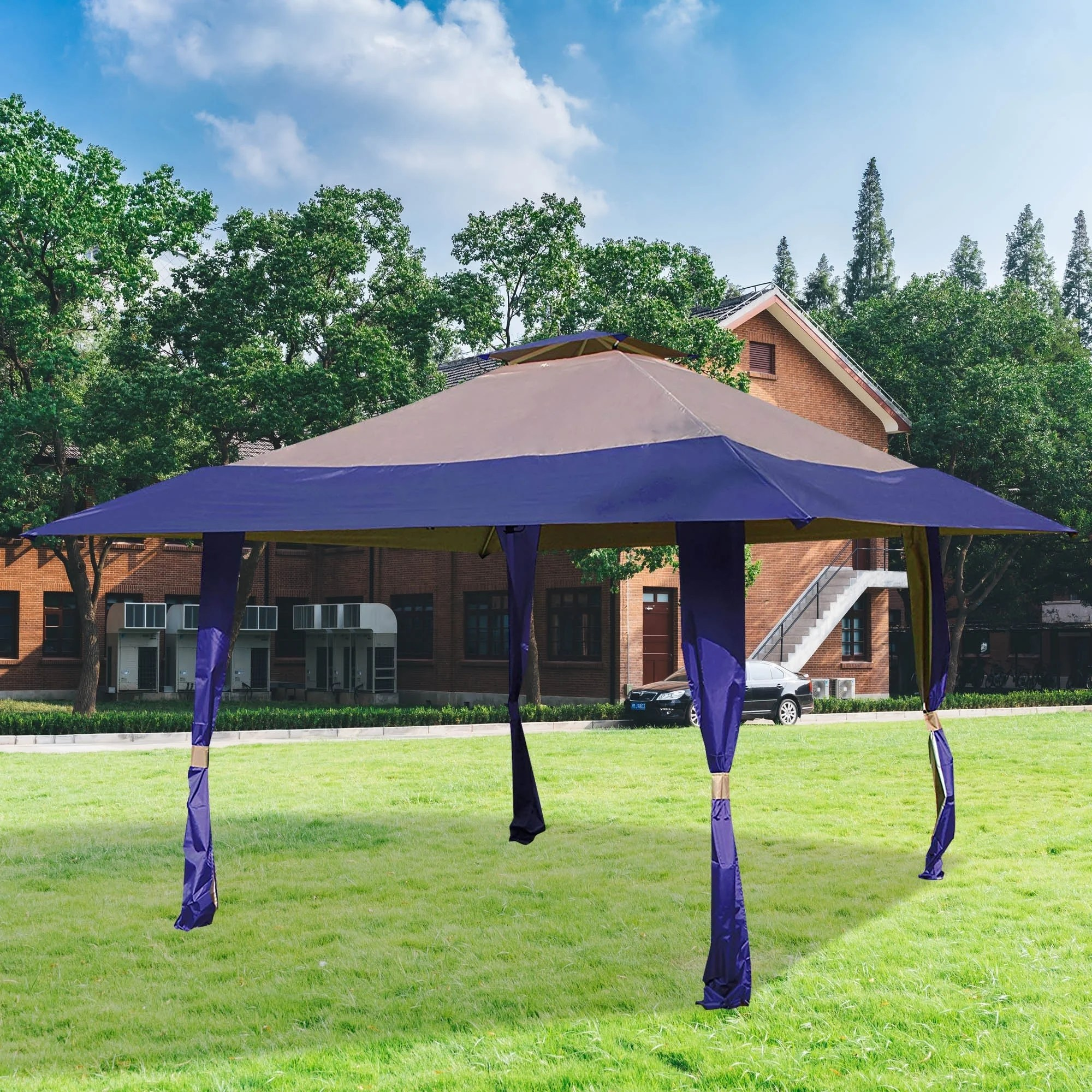 Pop Up Canopy 13 X 13 Pop Up Canopy Outdoor Yard Patio Double Roof Easy Set Up Canopy Tent For Party Event Royal Blue Tan