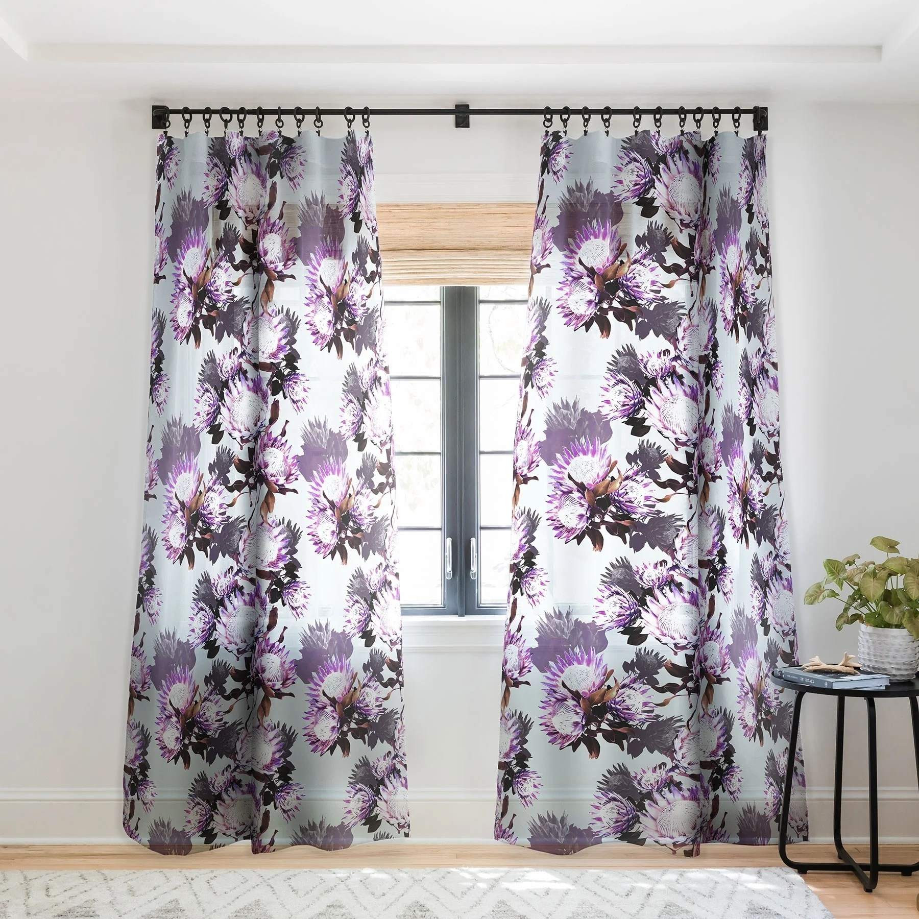 Lavender Sheer Curtains Marta Barragan Camarasa Purple Protea Floral Pattern Single Panel Sheer Curtain 50 X 84
