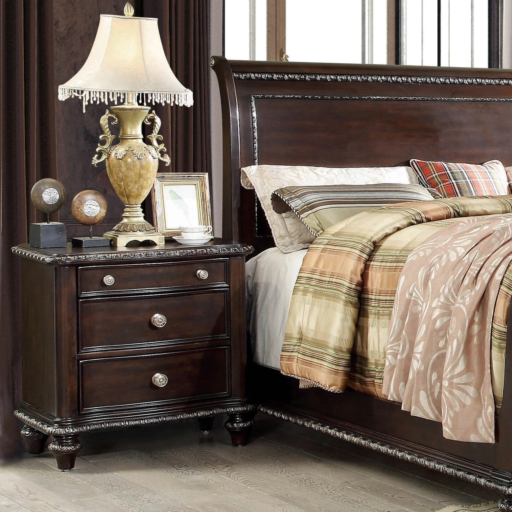 Huntington Bedroom Furniture Furniture Of America Huntington Traditional 3 Drawer Espresso Nightstand