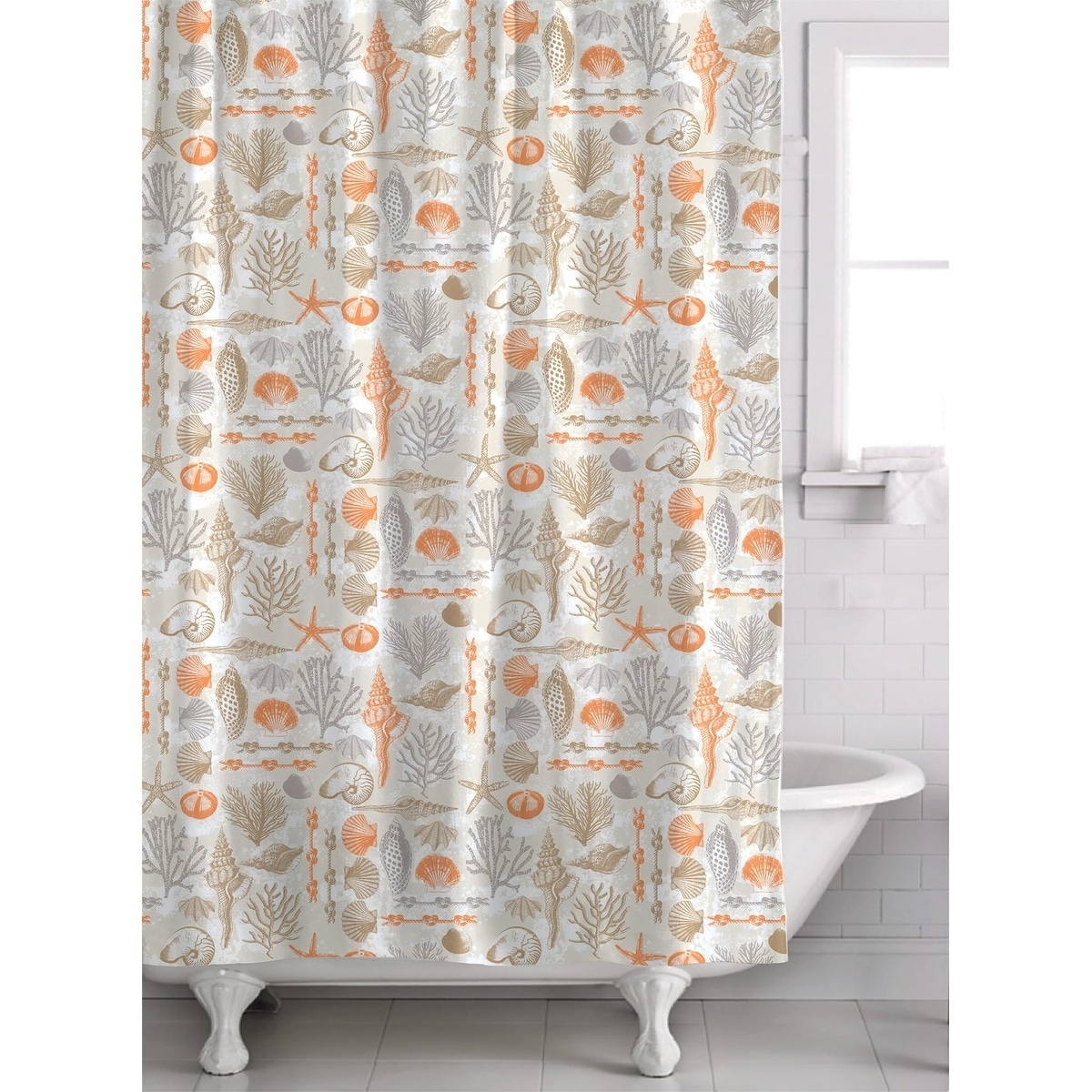 Nautical Fabric Shower Curtains Reef Point 13 Piece Fabric Shower Curtain Roller Ball Hook Set