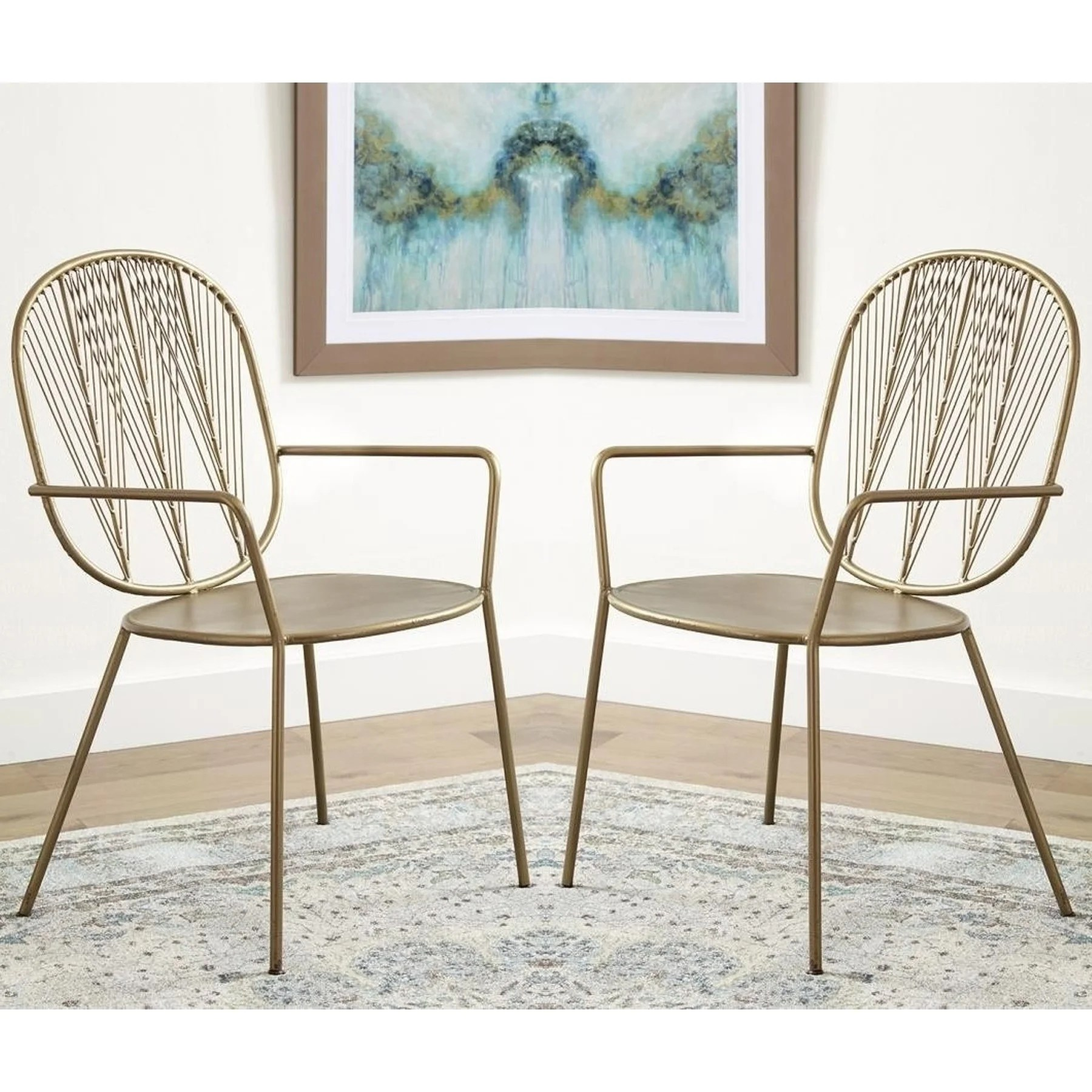Accent Arm Chairs Modern Wheat Design Gold Tone Iron Accent Arm Chairs Set Of 2
