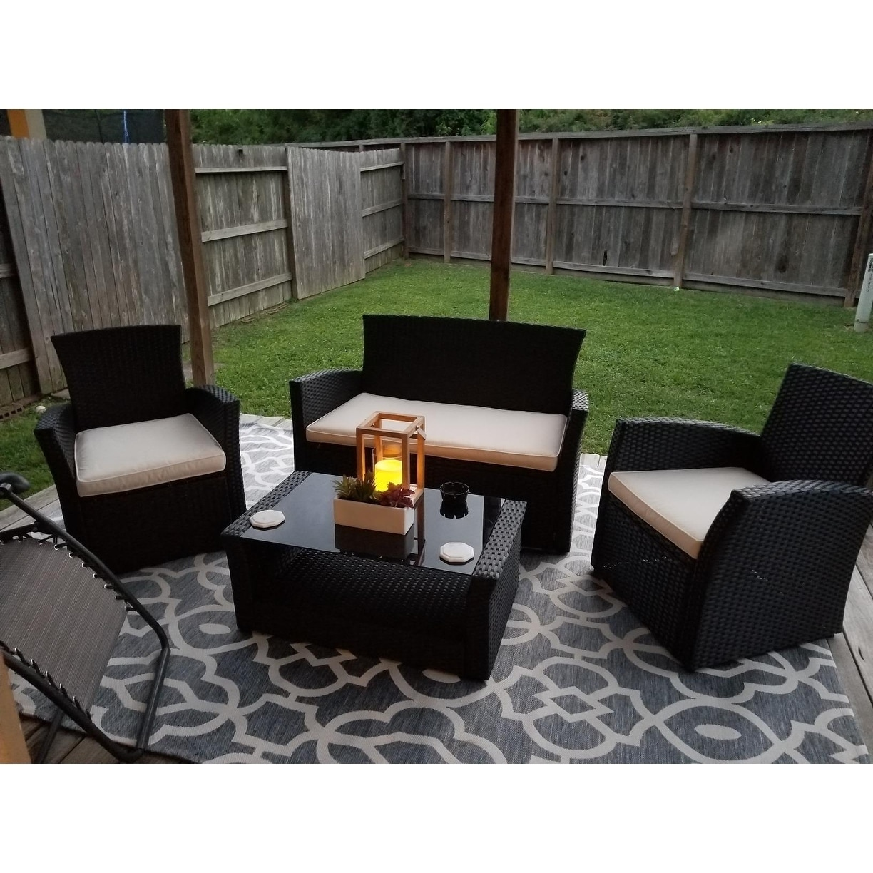 Outdoor Sofa Rattan 4 Piece Outdoor Patio Furniture Sets Wicker Outdoor Furniture Rattan Conversation Sofa Set Front Porch Sectional Set Black