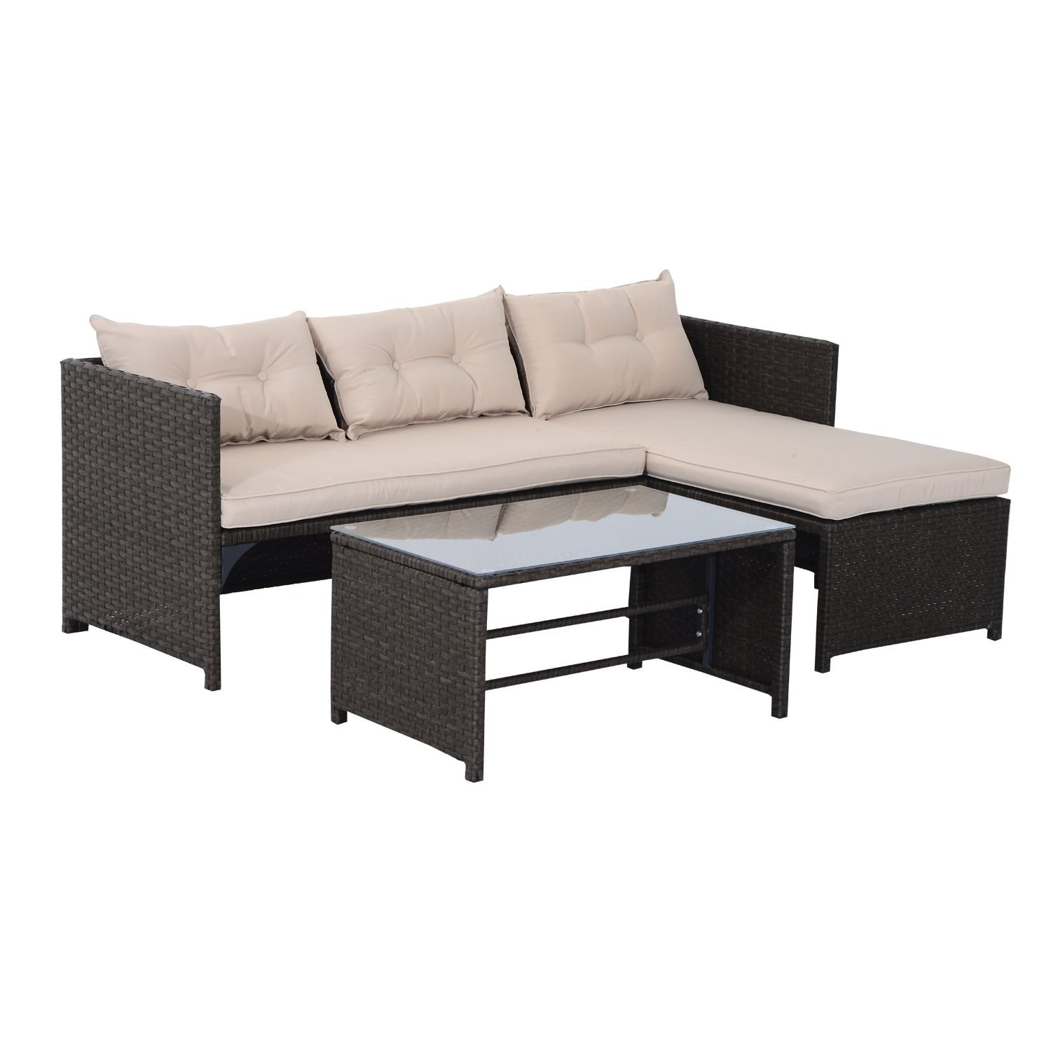 Sofa Rattan Outsunny Brown Tan Rattan Wicker 3 Piece Outdoor Patio Sofa And Chaise Lounge Set